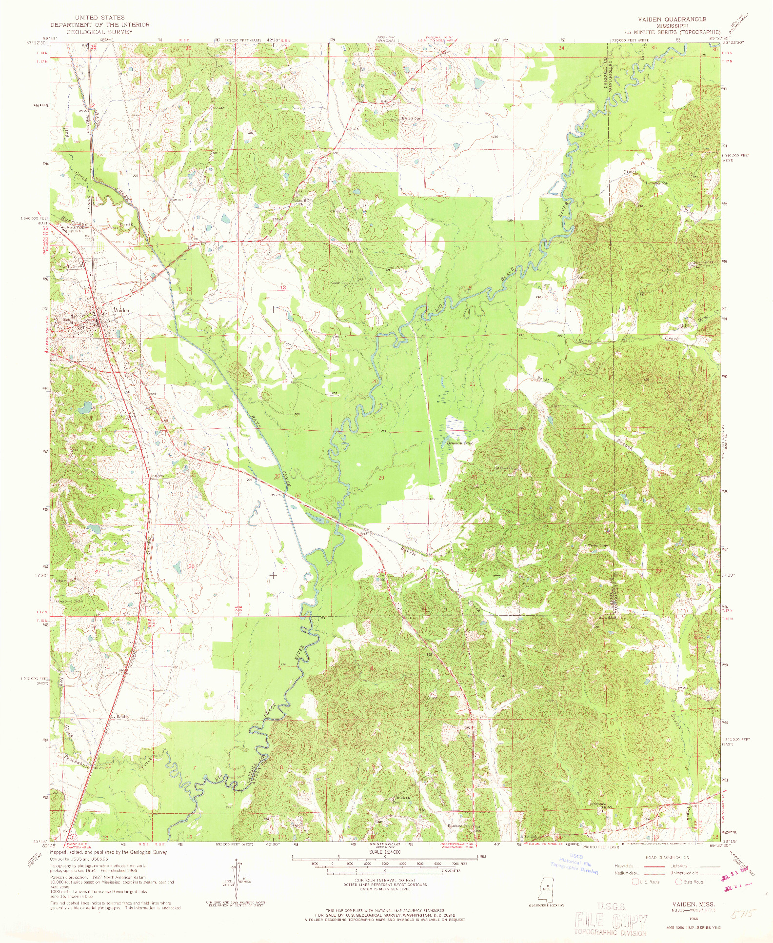 USGS 1:24000-SCALE QUADRANGLE FOR VAIDEN, MS 1966
