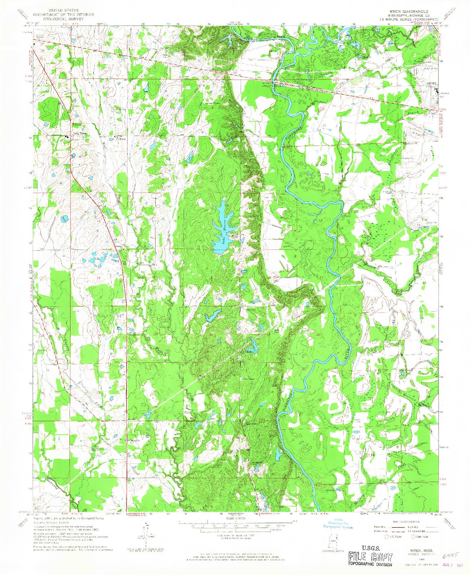 USGS 1:24000-SCALE QUADRANGLE FOR WREN, MS 1966