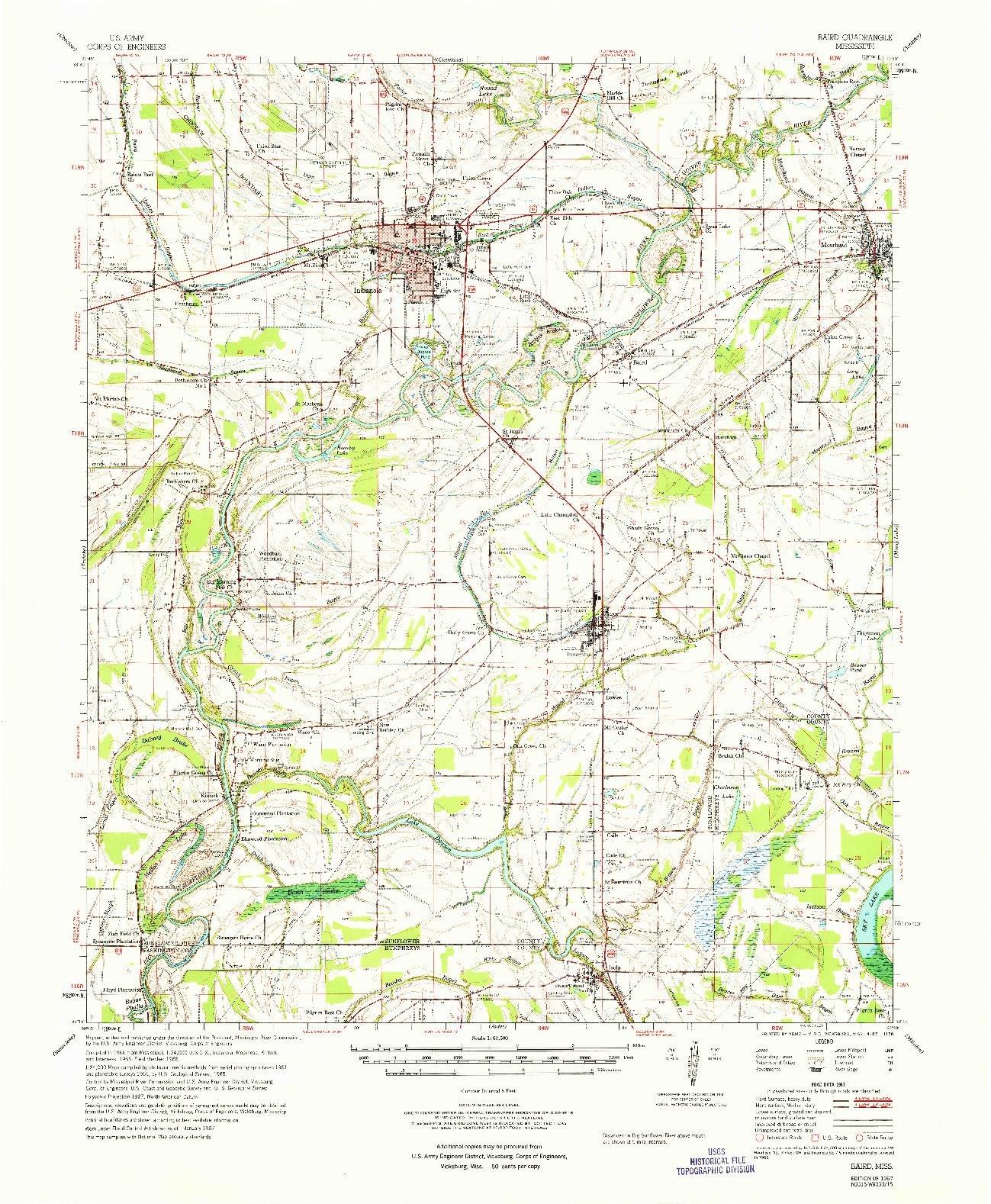 USGS 1:62500-SCALE QUADRANGLE FOR BAIRD, MS 1967