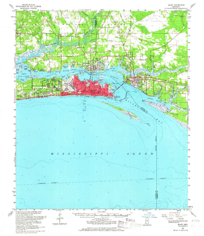 USGS 1:62500-SCALE QUADRANGLE FOR BILOXI, MS 1954