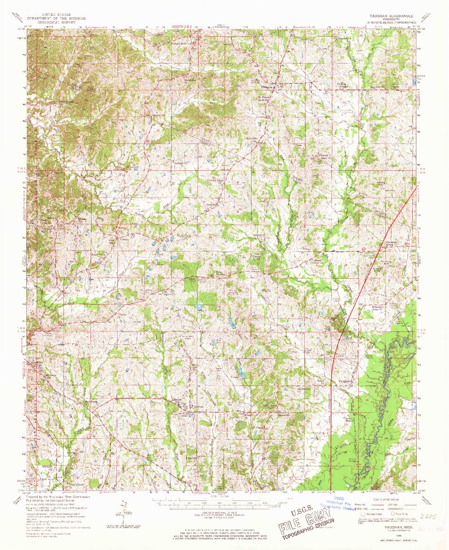 USGS 1:62500-SCALE QUADRANGLE FOR VAUGHAN, MS 1966