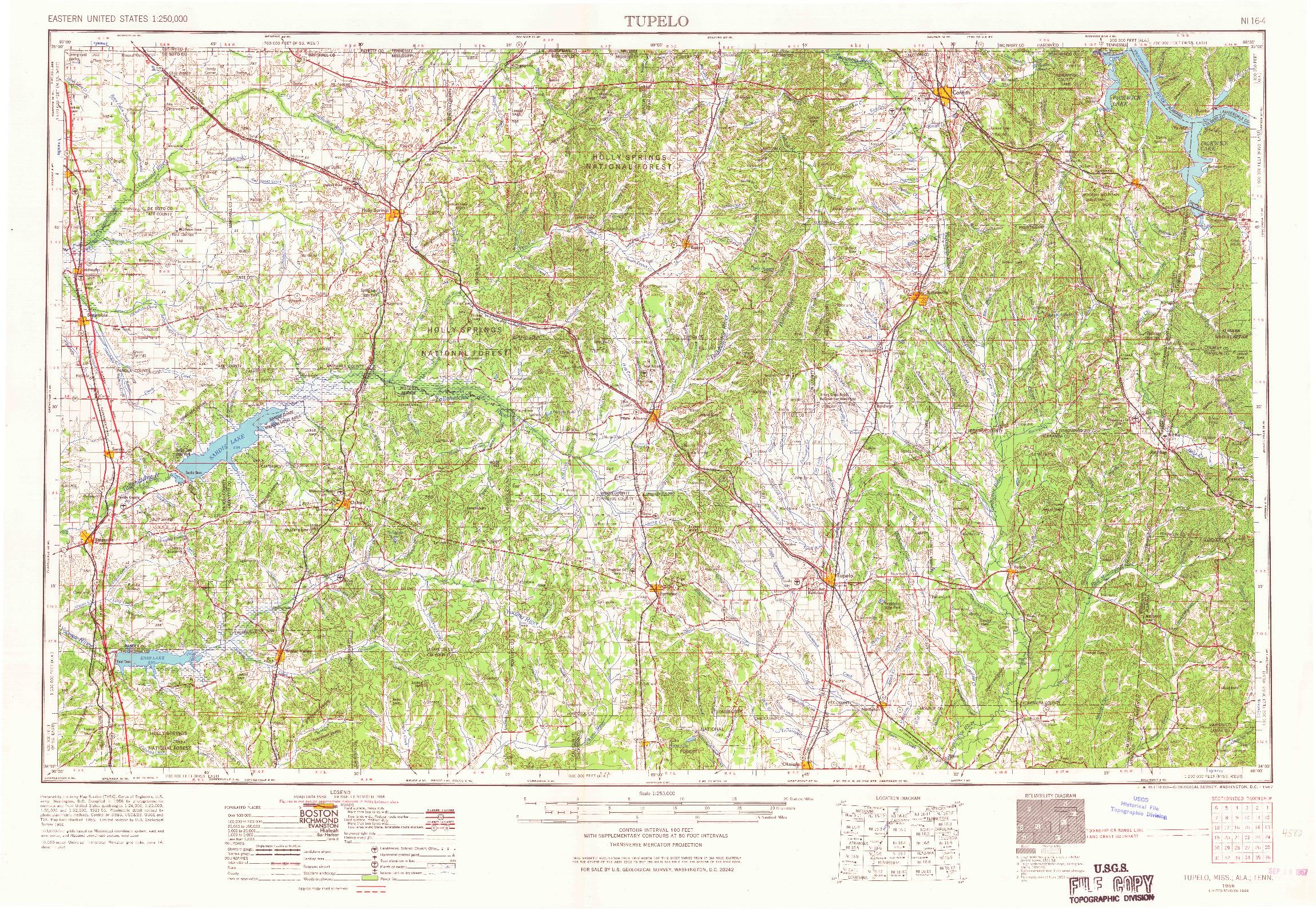 USGS 1:250000-SCALE QUADRANGLE FOR TUPELO, MS 1956