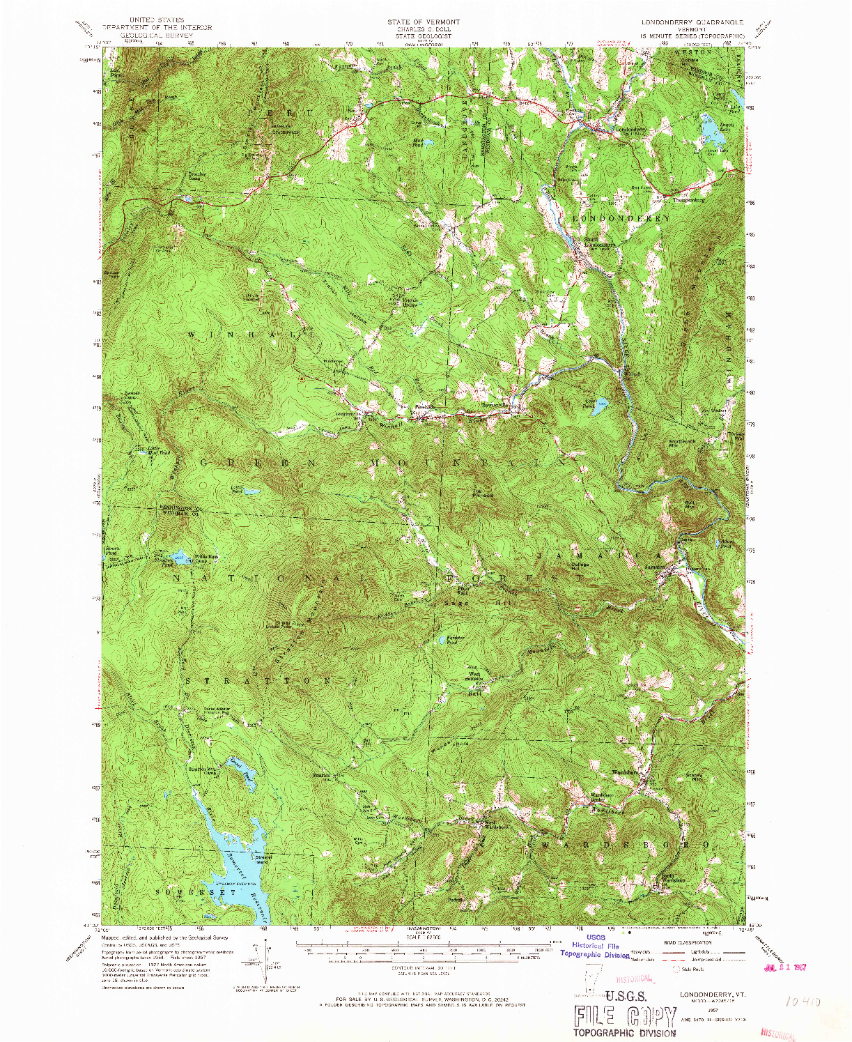 USGS 1:62500-SCALE QUADRANGLE FOR LONDONDERRY, VT 1957