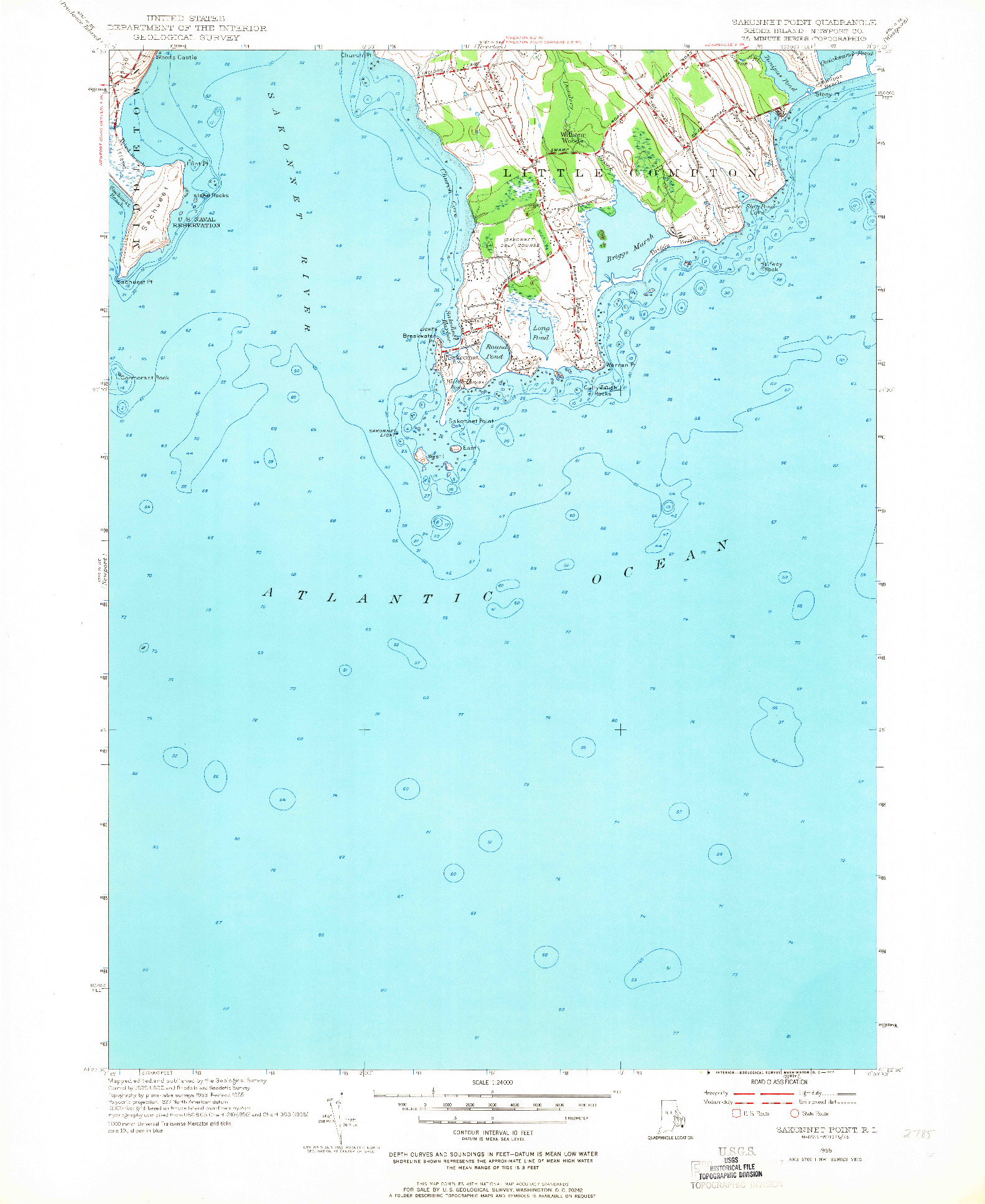 USGS 1:24000-SCALE QUADRANGLE FOR SAKONNET POINT, RI 1955