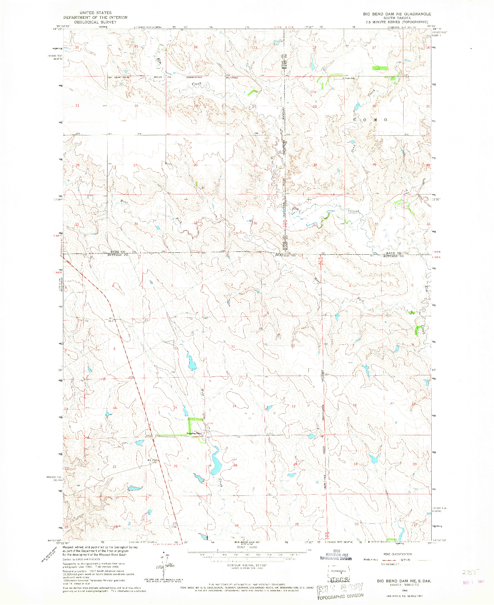 USGS 1:24000-SCALE QUADRANGLE FOR BIG BEND DAM NE, SD 1966