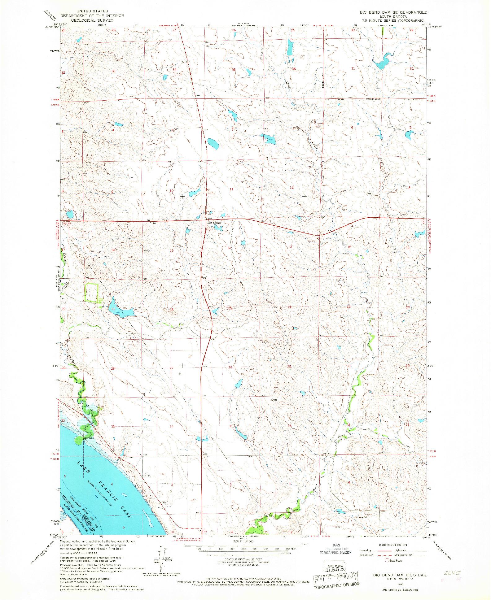USGS 1:24000-SCALE QUADRANGLE FOR BIG BEND DAM SE, SD 1966