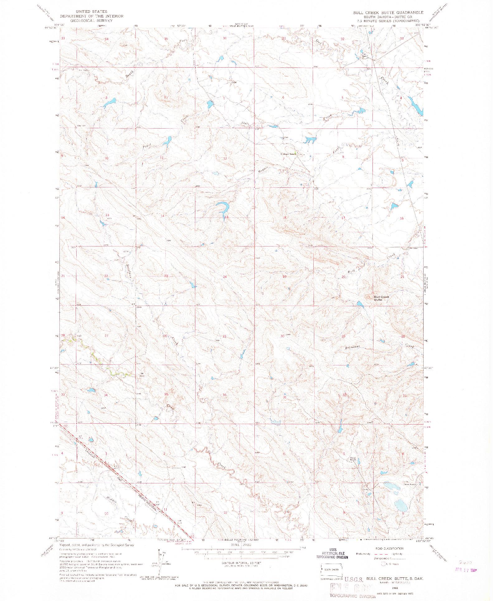 USGS 1:24000-SCALE QUADRANGLE FOR BULL CREEK BUTTE, SD 1965