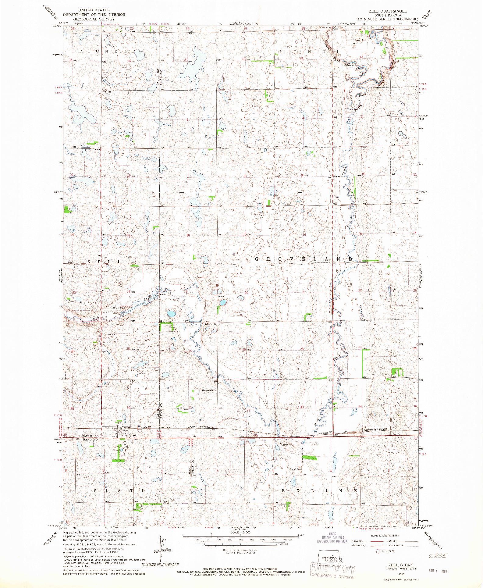 USGS 1:24000-SCALE QUADRANGLE FOR ZELL, SD 1966