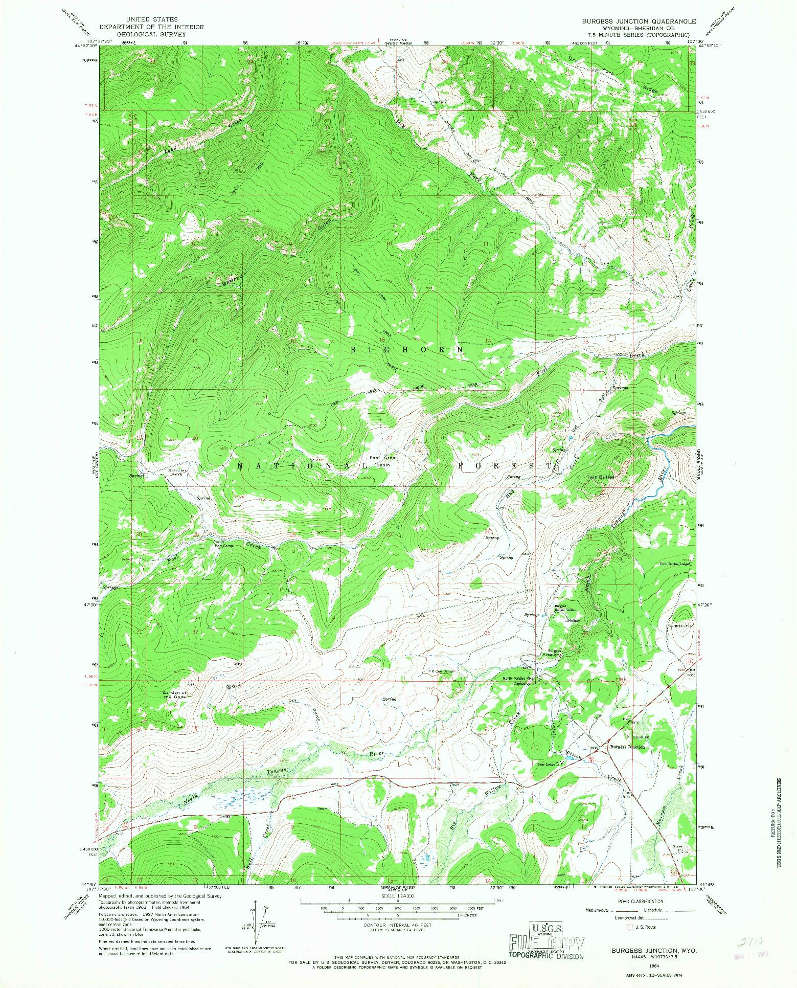 USGS 1:24000-SCALE QUADRANGLE FOR BURGESS JUNCTION, WY 1964