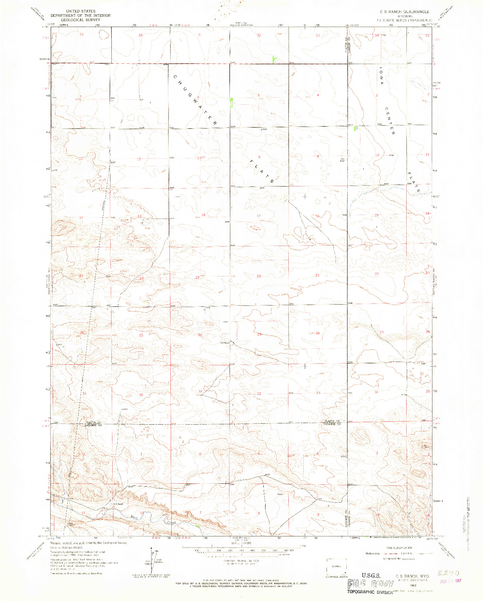 USGS 1:24000-SCALE QUADRANGLE FOR C S RANCH, WY 1963