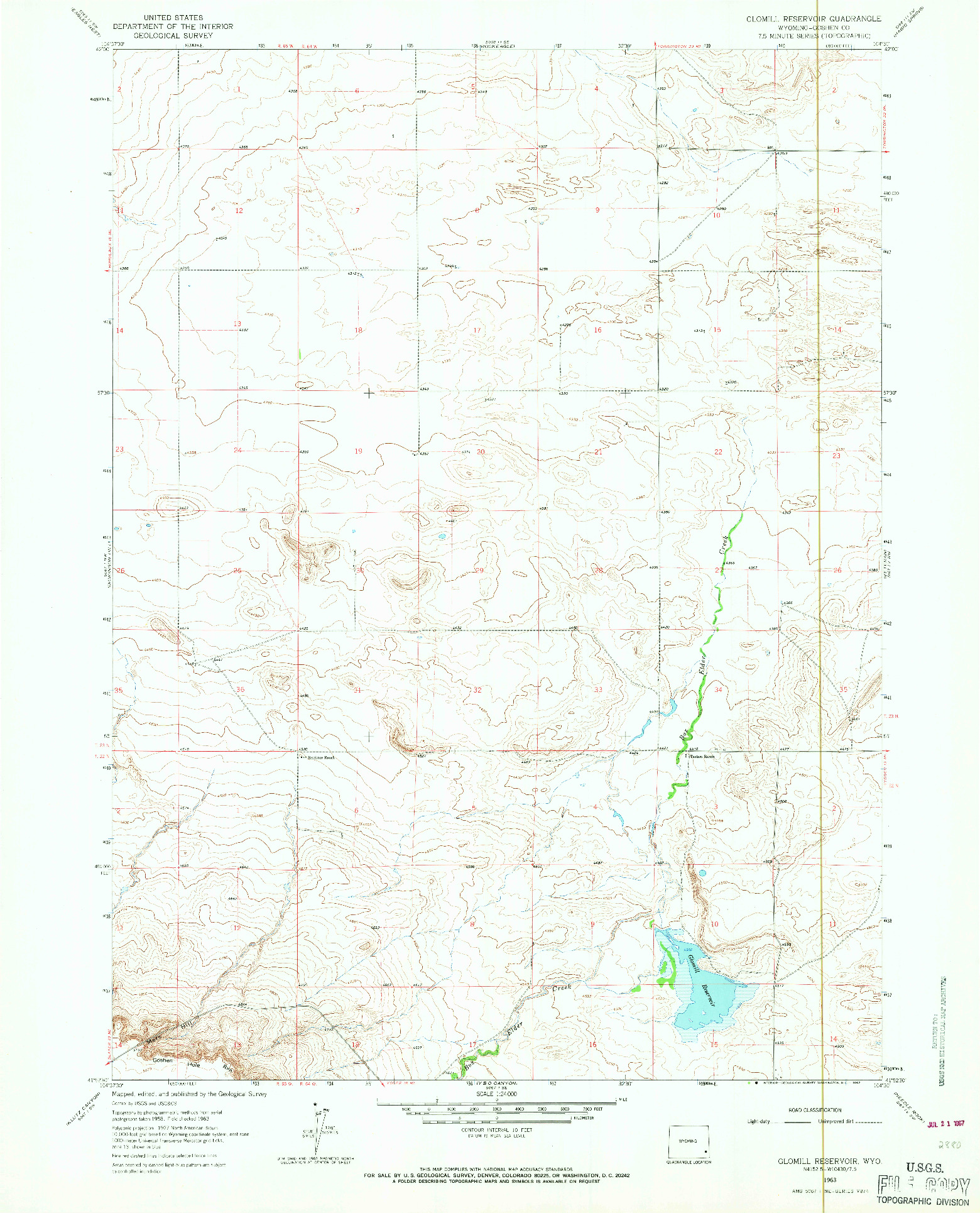 USGS 1:24000-SCALE QUADRANGLE FOR GLOMILL RESERVOIR, WY 1963