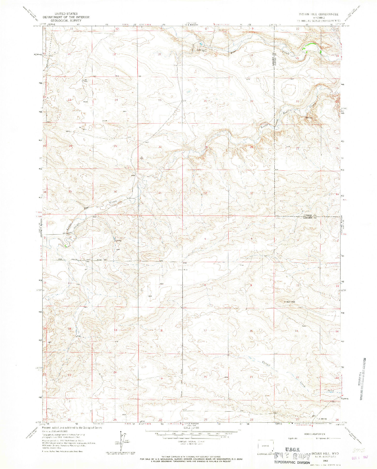 USGS 1:24000-SCALE QUADRANGLE FOR INDIAN HILL, WY 1963