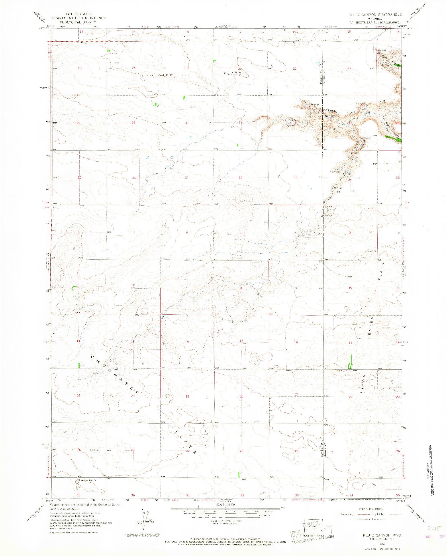 USGS 1:24000-SCALE QUADRANGLE FOR KLUTZ CANYON, WY 1963