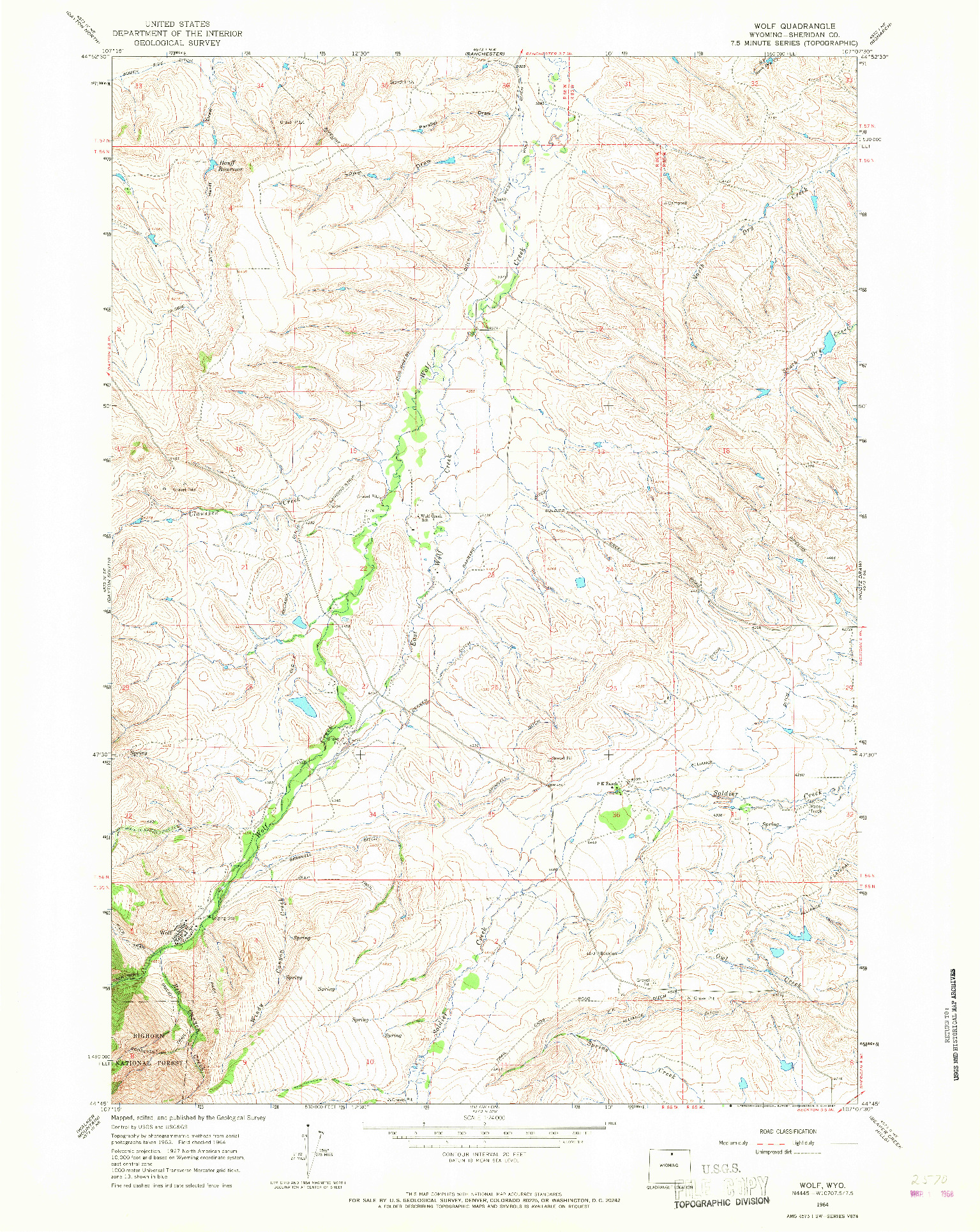 USGS 1:24000-SCALE QUADRANGLE FOR WOLF, WY 1964