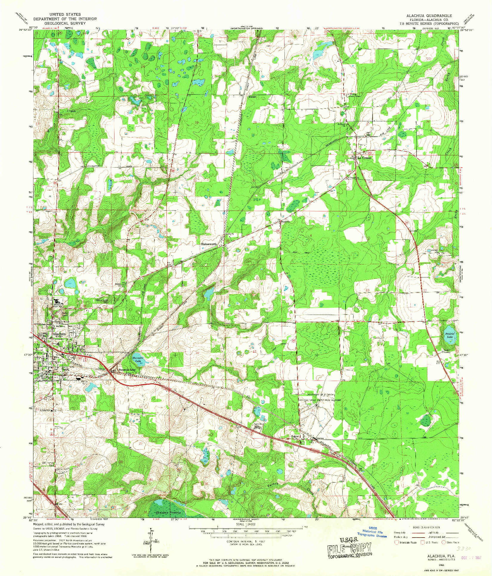 USGS 1:24000-SCALE QUADRANGLE FOR ALACHUA, FL 1966