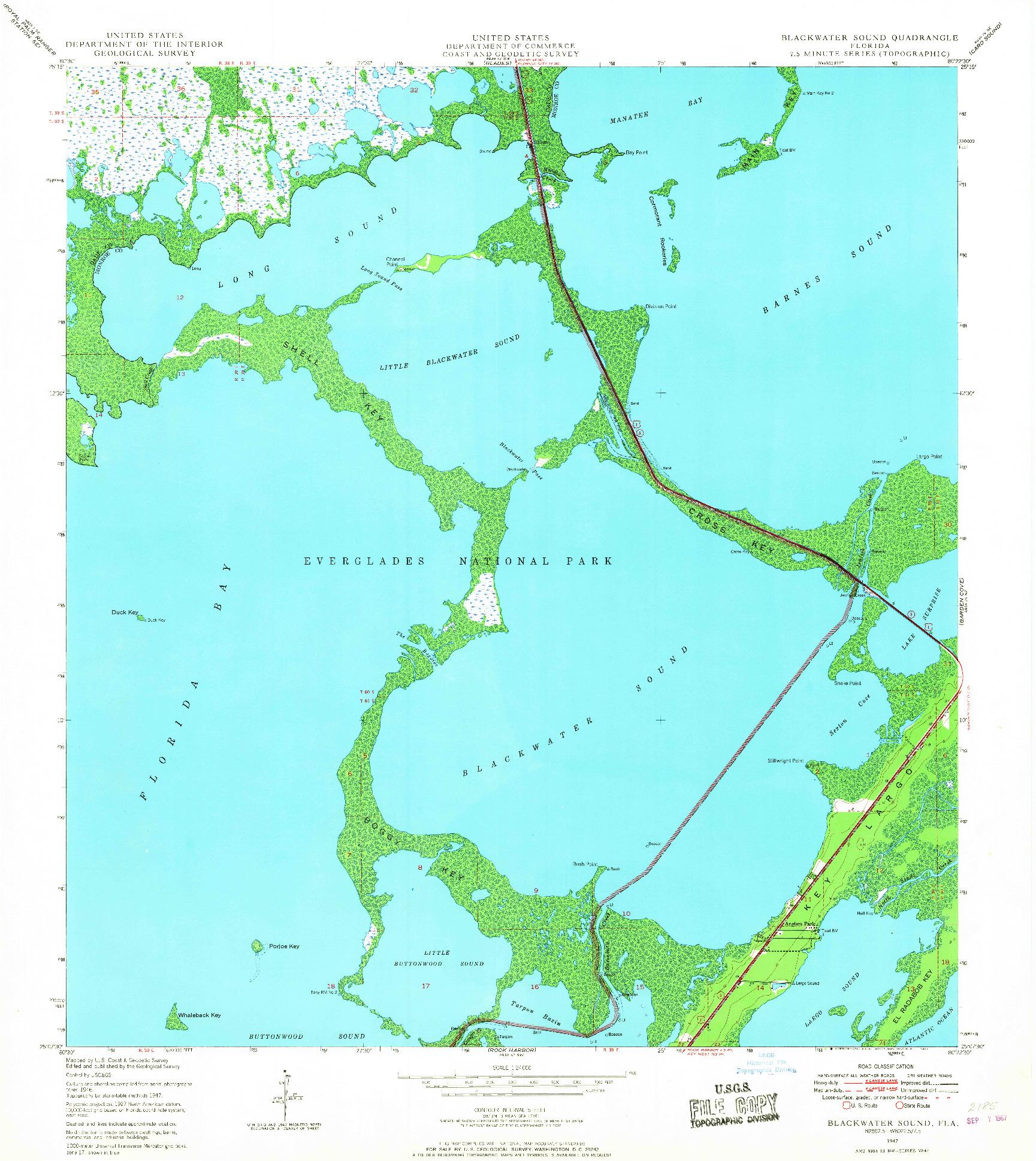 USGS 1:24000-SCALE QUADRANGLE FOR BLACKWATER SOUND, FL 1947