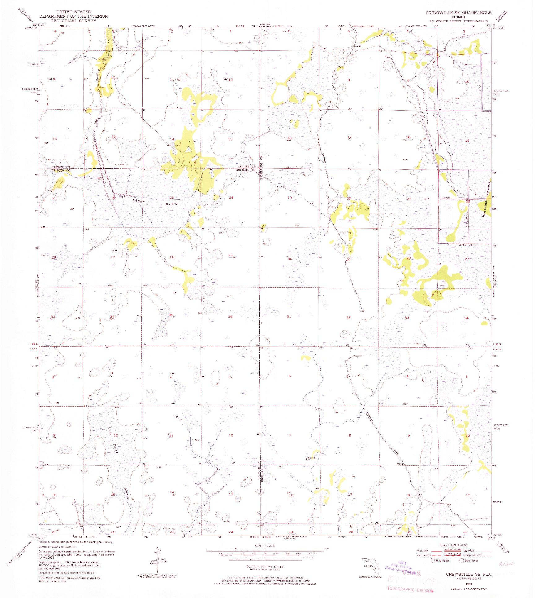 USGS 1:24000-SCALE QUADRANGLE FOR CREWSVILLE SE, FL 1953
