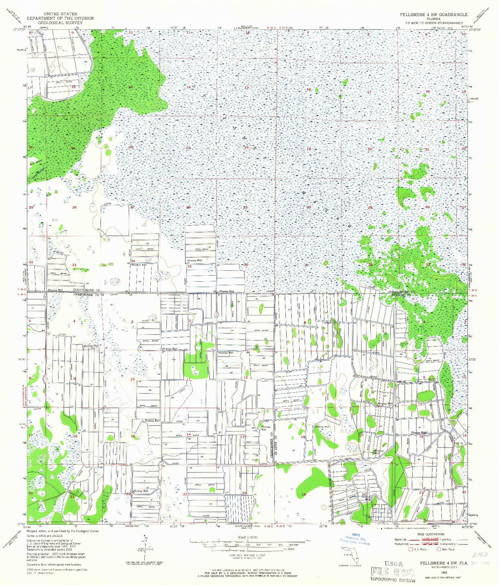 USGS 1:24000-SCALE QUADRANGLE FOR FELLSMERE 4 SW, FL 1953