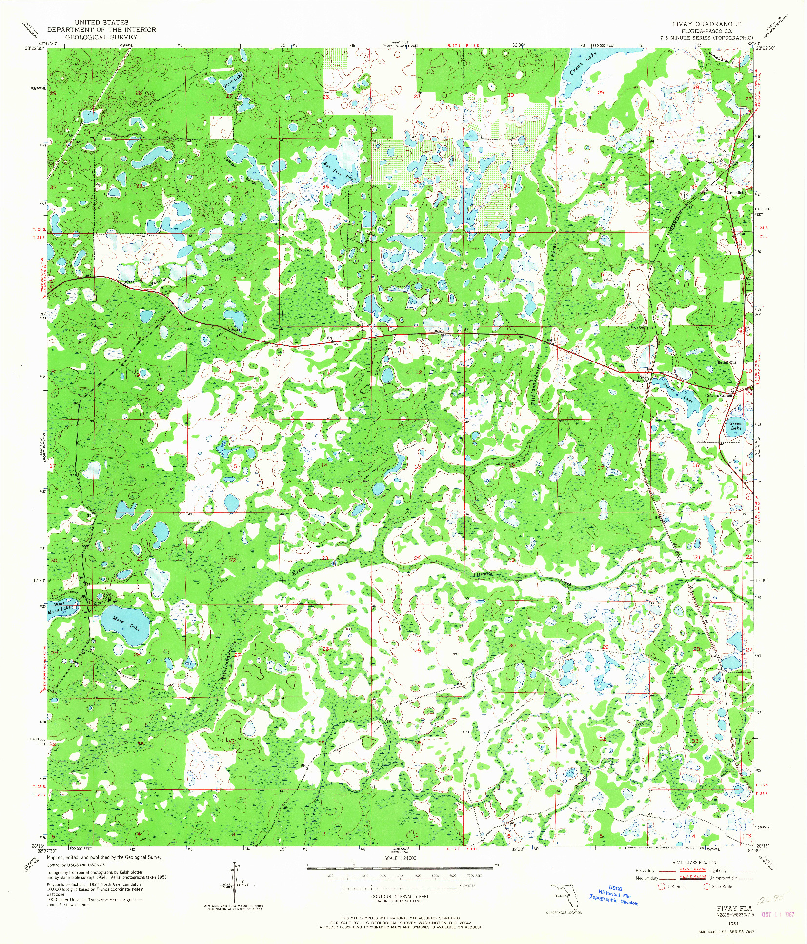USGS 1:24000-SCALE QUADRANGLE FOR FIVAY, FL 1954