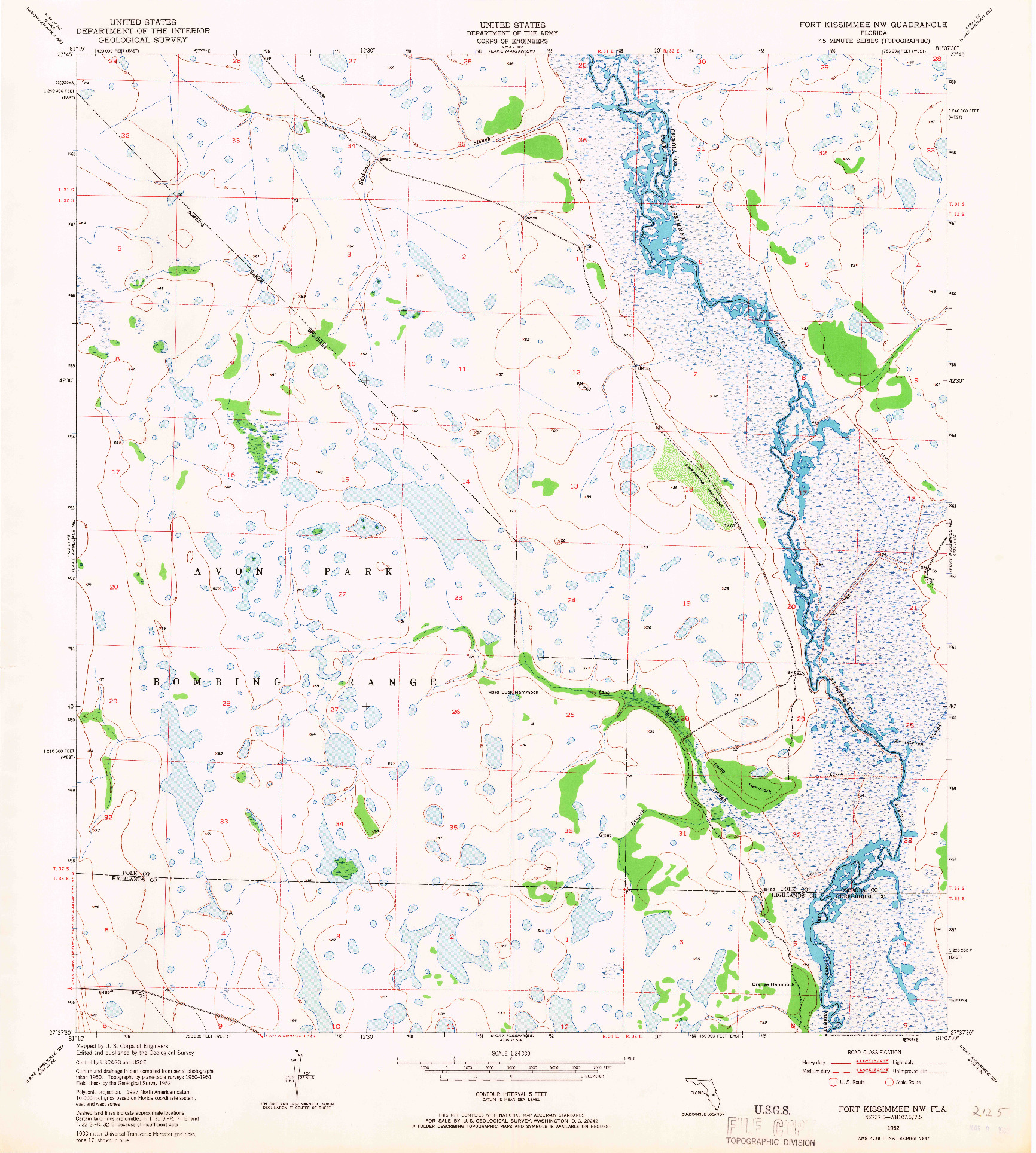 USGS 1:24000-SCALE QUADRANGLE FOR FORT KISSIMMEE NW, FL 1952
