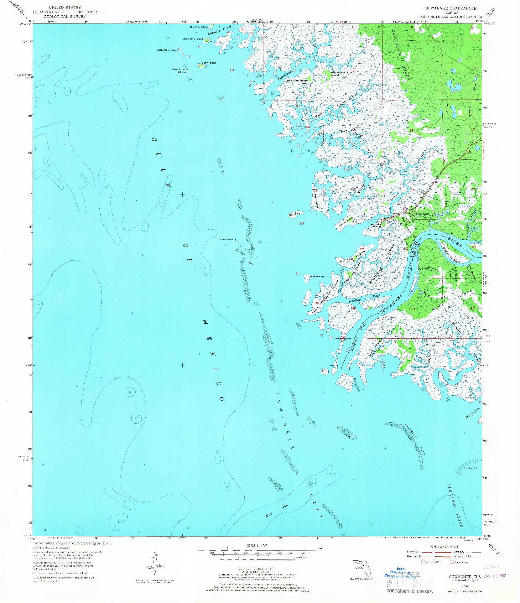 USGS 1:24000-SCALE QUADRANGLE FOR SUWANNEE, FL 1954