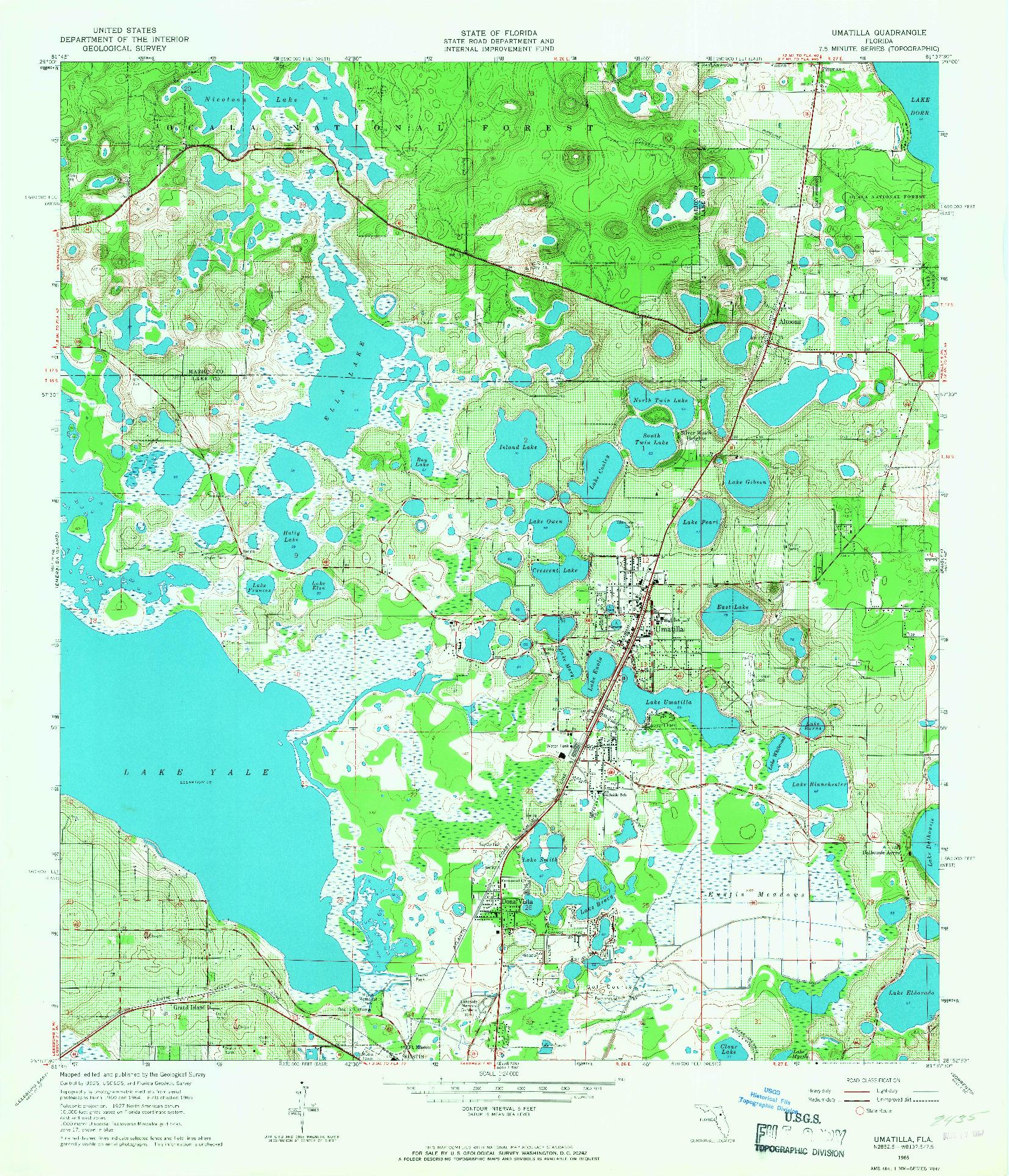 USGS 1:24000-SCALE QUADRANGLE FOR UMATILLA, FL 1965