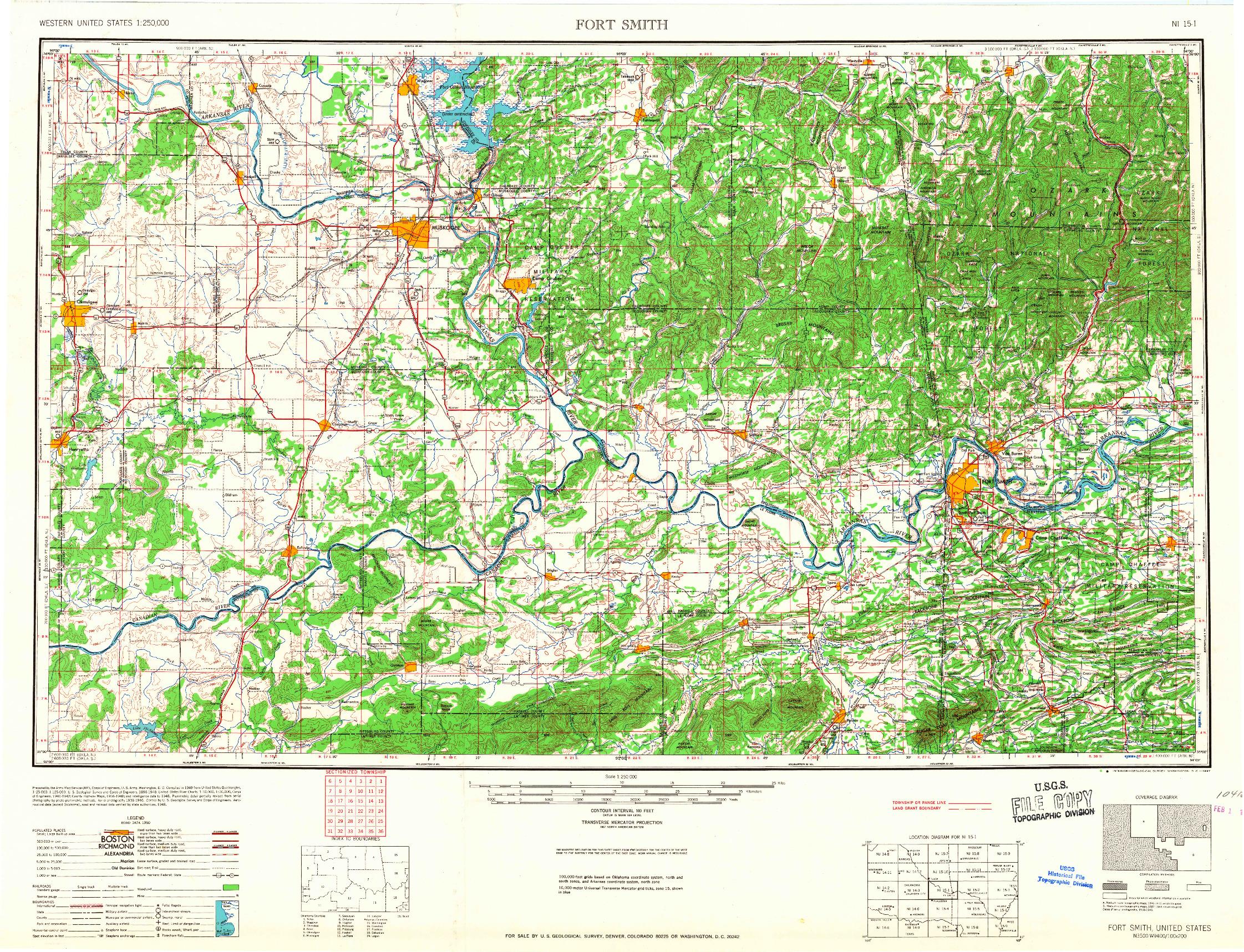 USGS 1:250000-SCALE QUADRANGLE FOR FORT SMITH, AR 1967