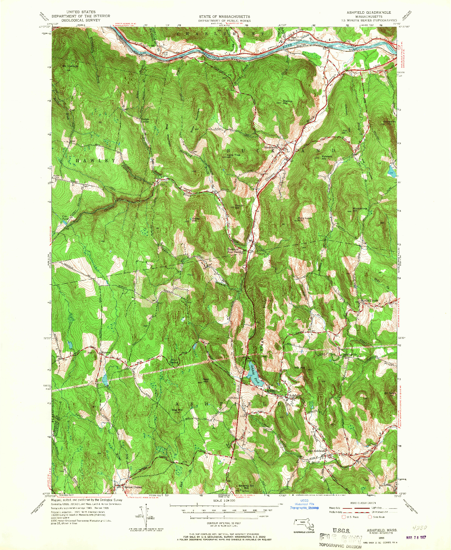USGS 1:24000-SCALE QUADRANGLE FOR ASHFIELD, MA 1955