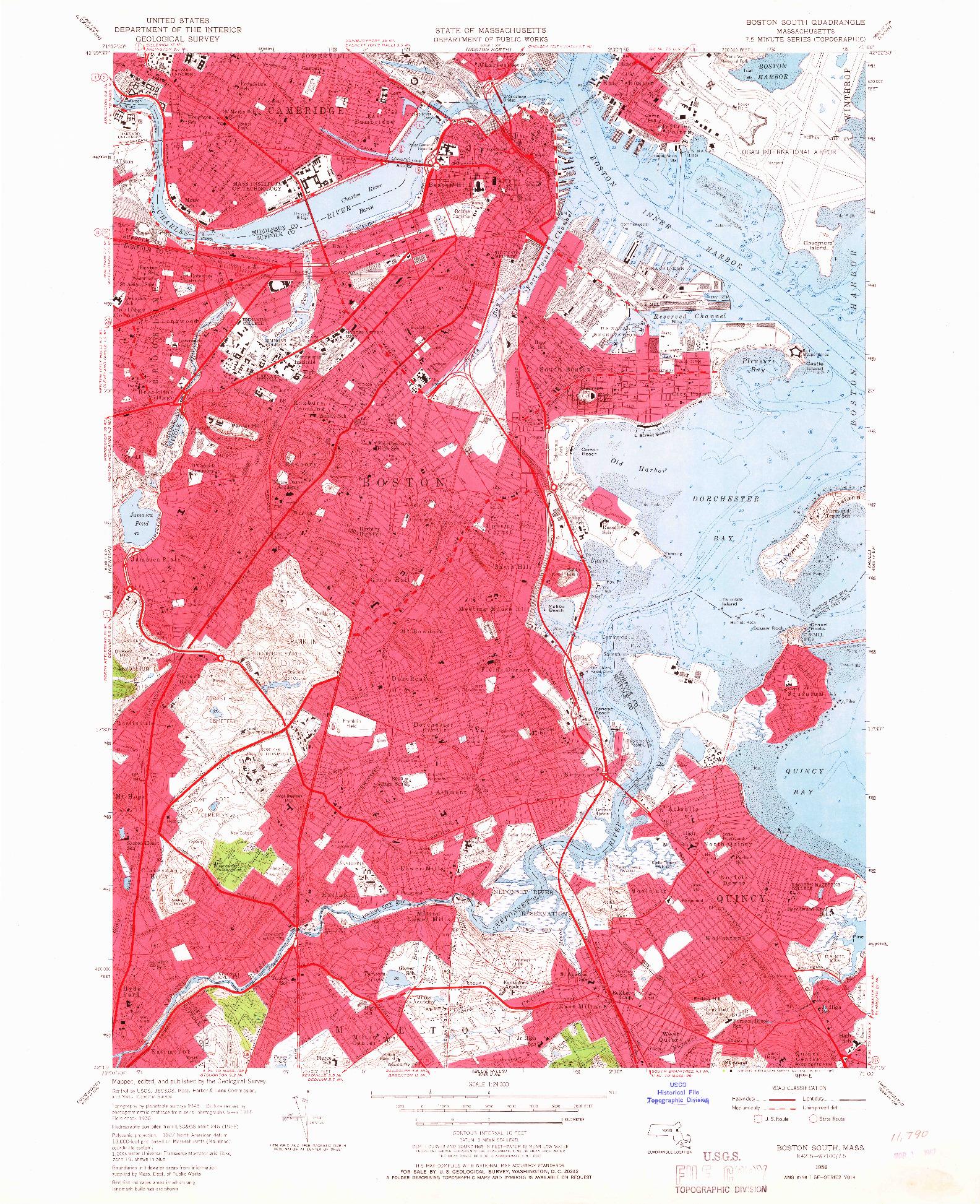 USGS 1:24000-SCALE QUADRANGLE FOR BOSTON SOUTH, MA 1956