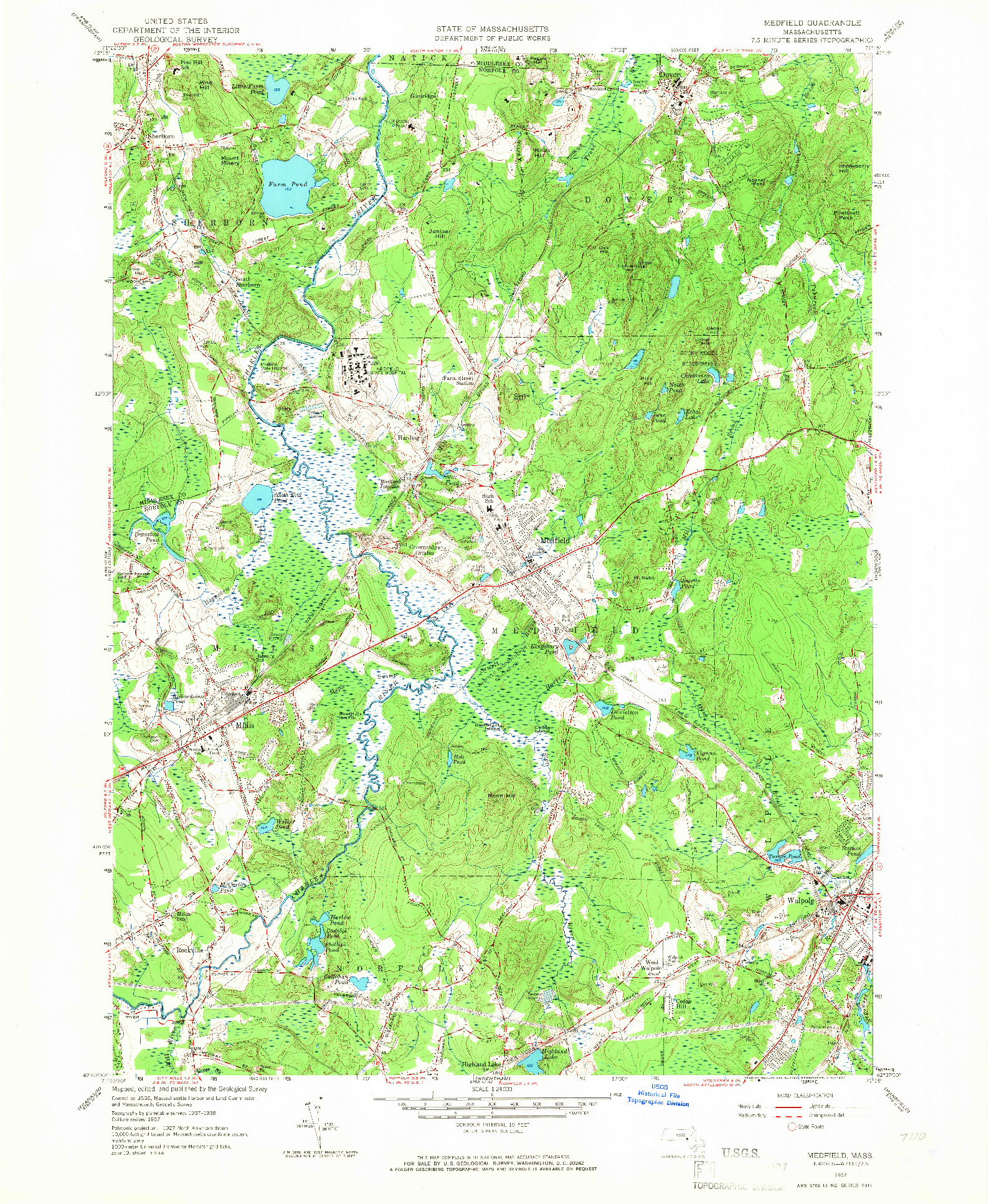 USGS 1:24000-SCALE QUADRANGLE FOR MEDFIELD, MA 1957