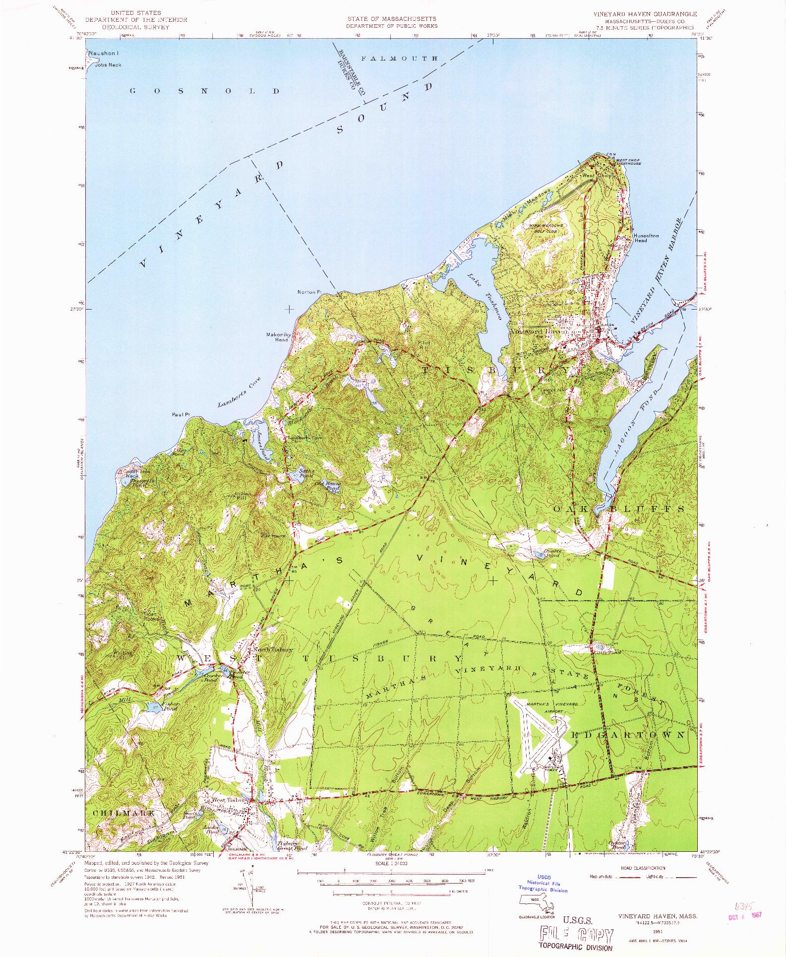 USGS 1:24000-SCALE QUADRANGLE FOR VINEYARD HAVEN, MA 1951