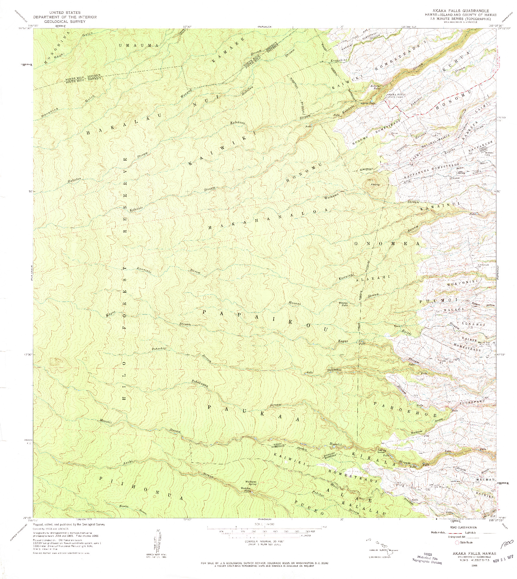 USGS 1:24000-SCALE QUADRANGLE FOR AKAKA FALLS, HI 1966