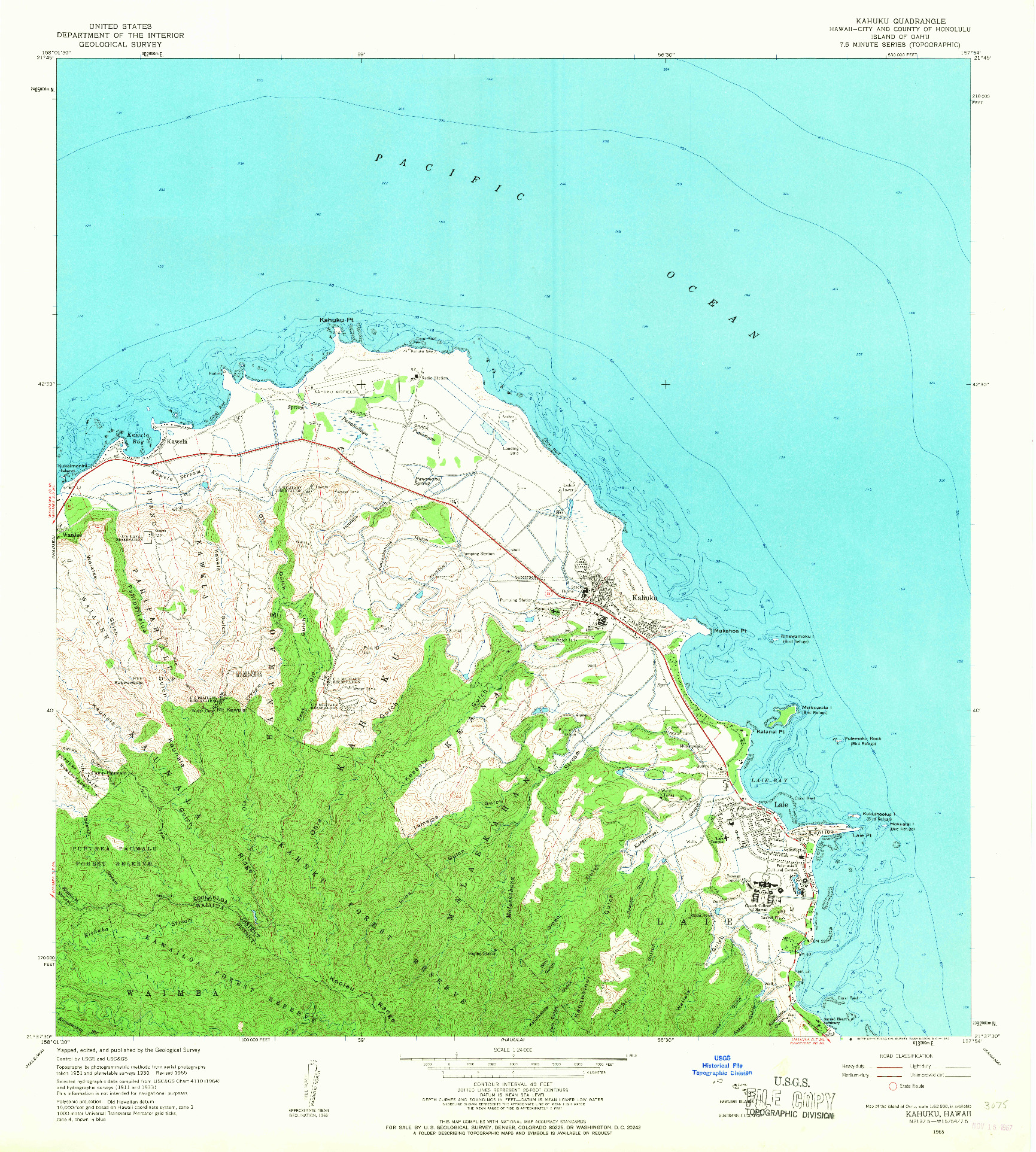 USGS 1:24000-SCALE QUADRANGLE FOR KAHUKU, HI 1965