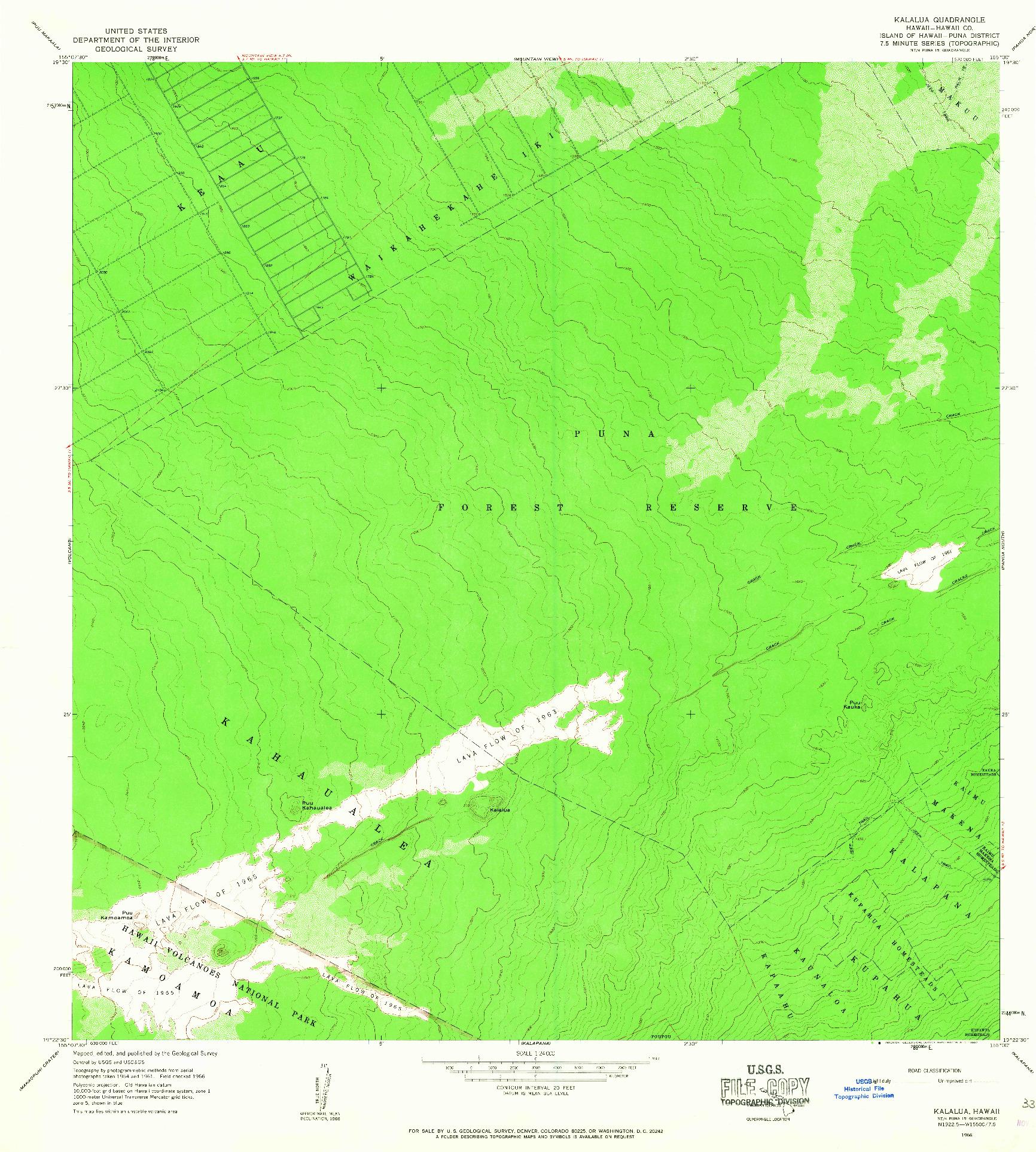 USGS 1:24000-SCALE QUADRANGLE FOR KALALUA, HI 1966