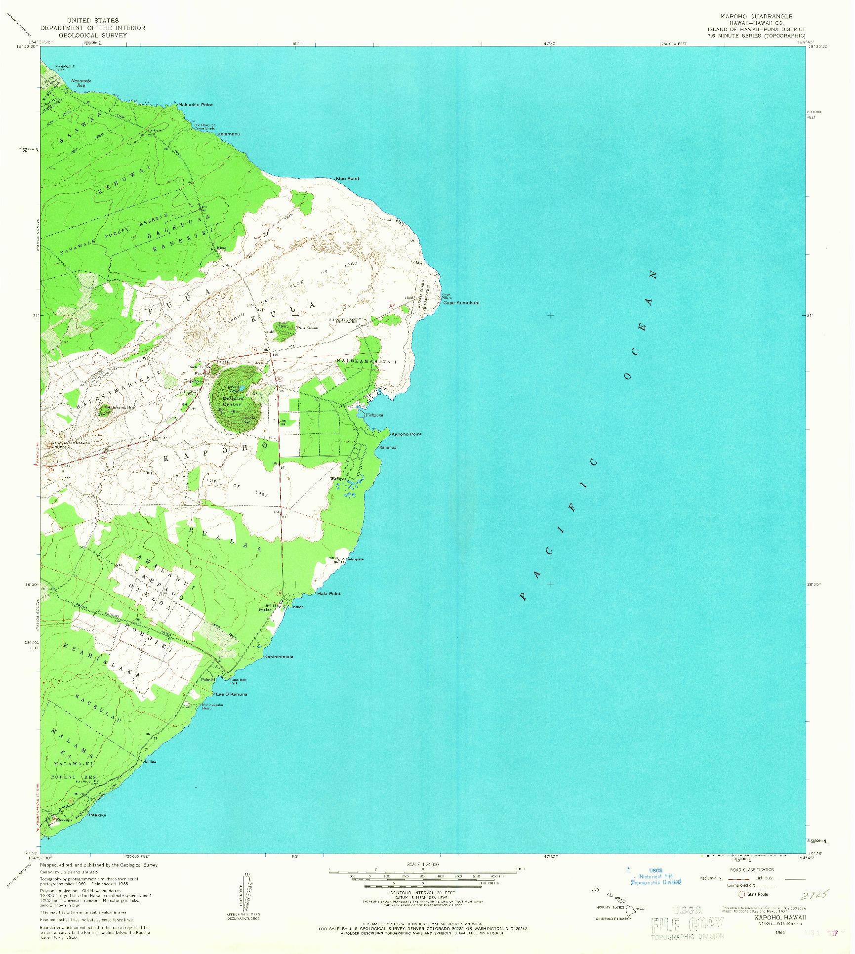 USGS 1:24000-SCALE QUADRANGLE FOR KAPOHO, HI 1965