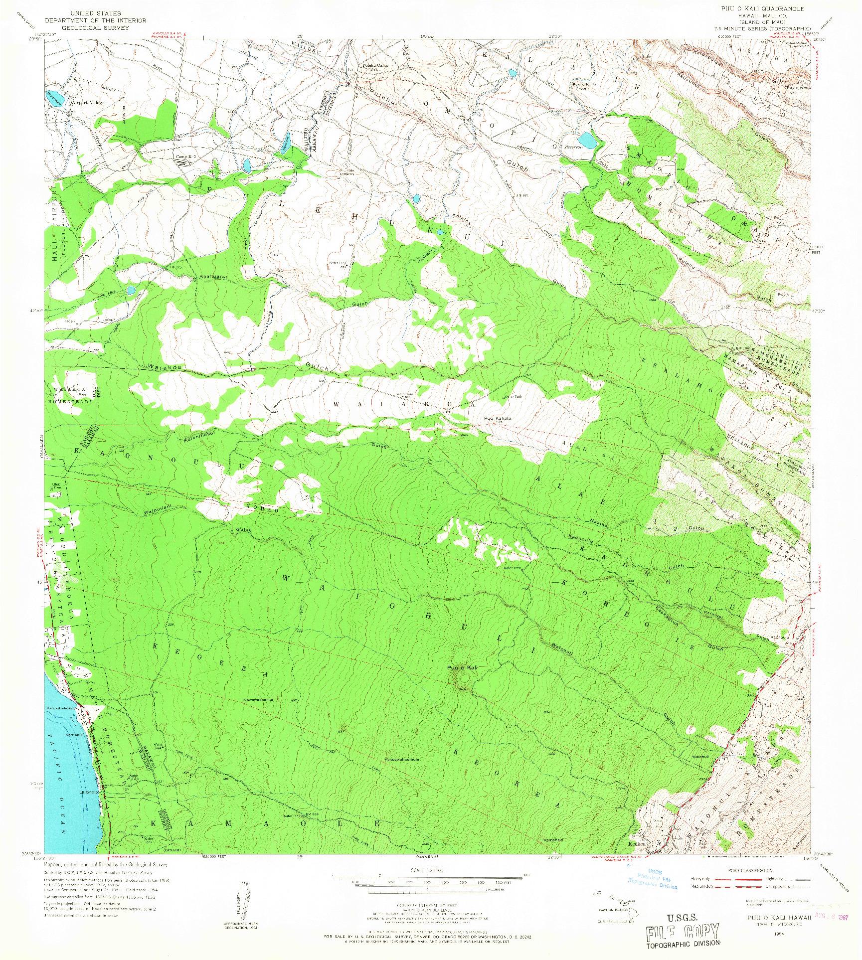 USGS 1:24000-SCALE QUADRANGLE FOR PUU O KALI, HI 1954