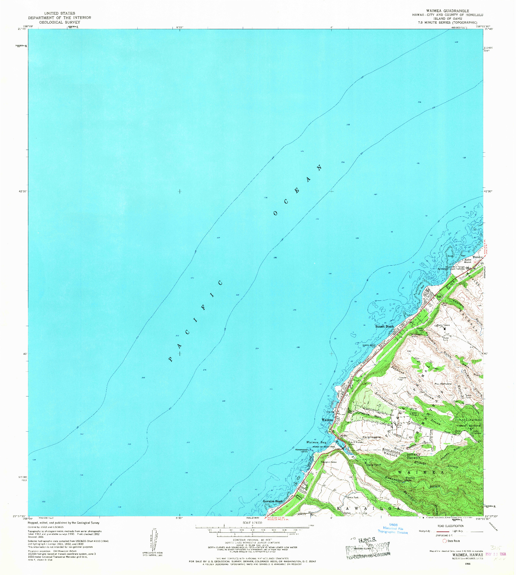 USGS 1:24000-SCALE QUADRANGLE FOR WAIMEA, HI 1966