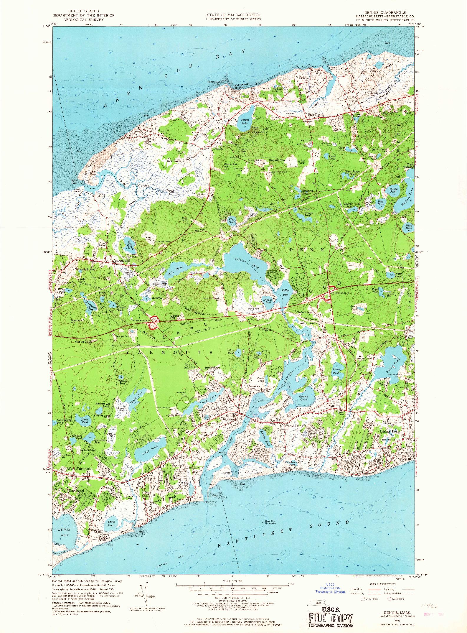 USGS 1:24000-SCALE QUADRANGLE FOR DENNIS, MA 1961