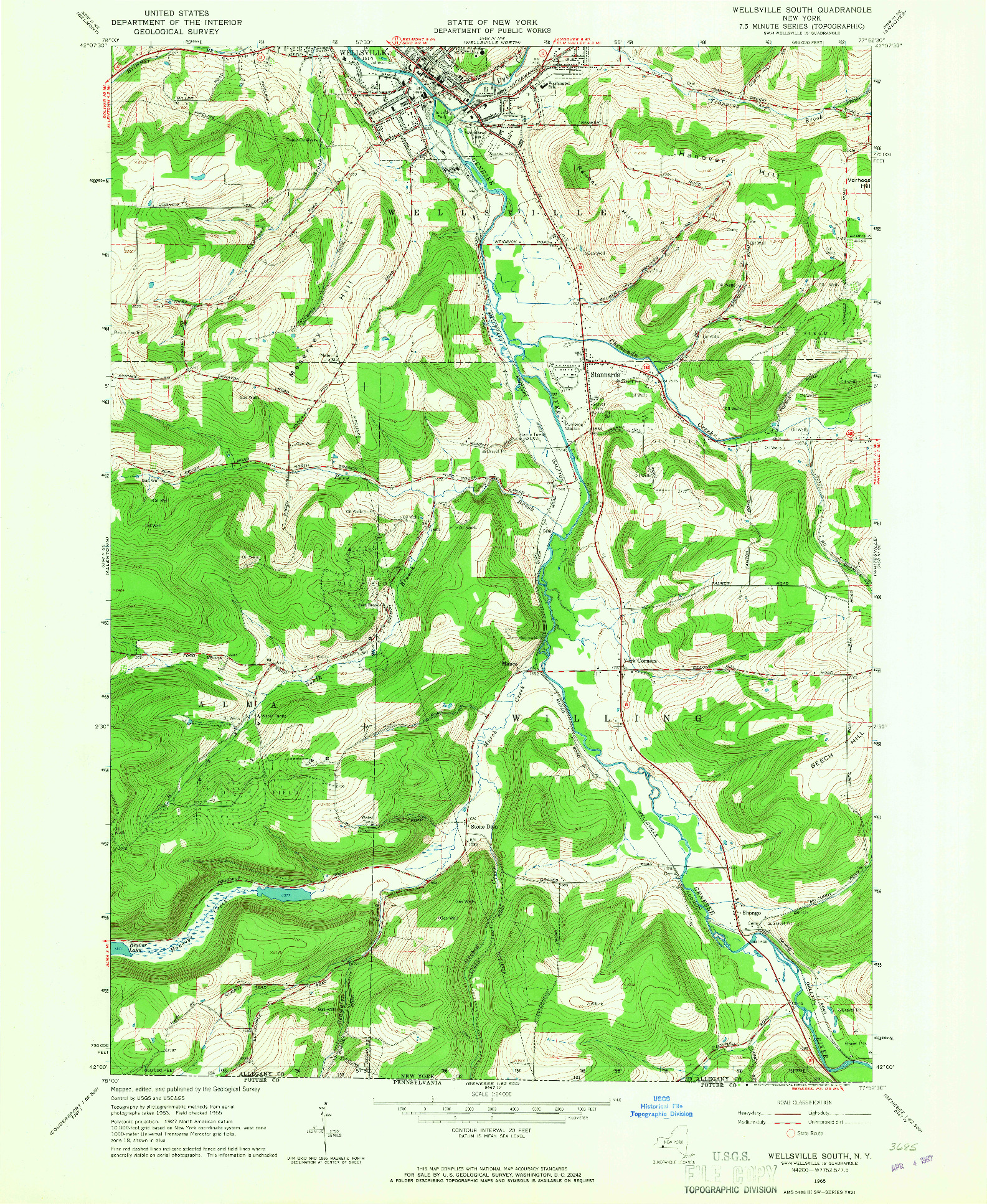 USGS 1:24000-SCALE QUADRANGLE FOR WELLSVILLE SOUTH, NY 1965