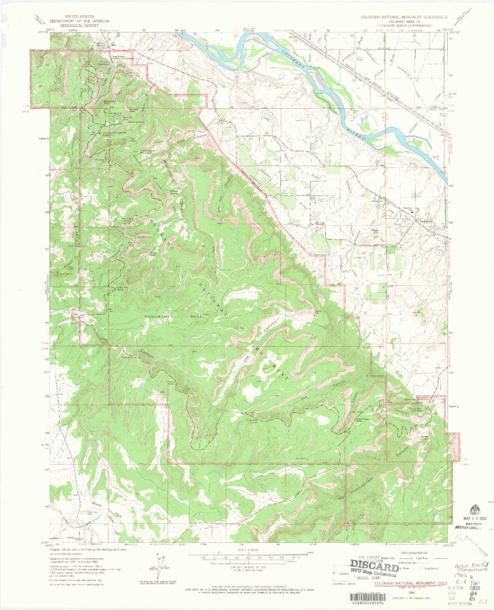 USGS 1:24000-SCALE QUADRANGLE FOR COLORADO NATIONAL MONUMENT, CO 1962