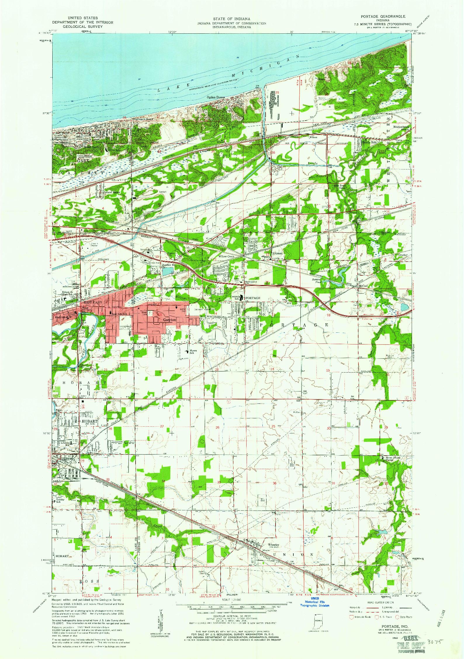 USGS 1:24000-SCALE QUADRANGLE FOR PORTAGE, IN 1960