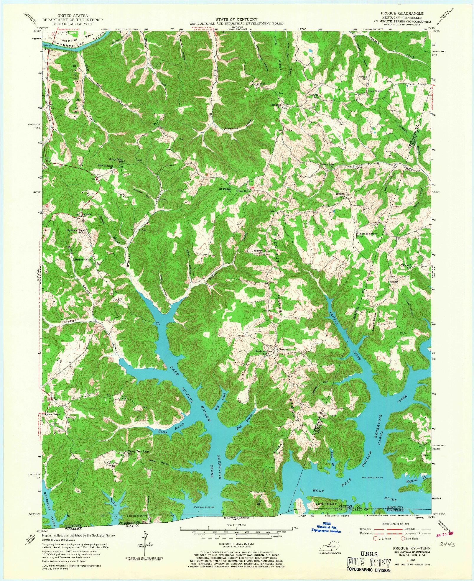 USGS 1:24000-SCALE QUADRANGLE FOR FROGUE, KY 1954