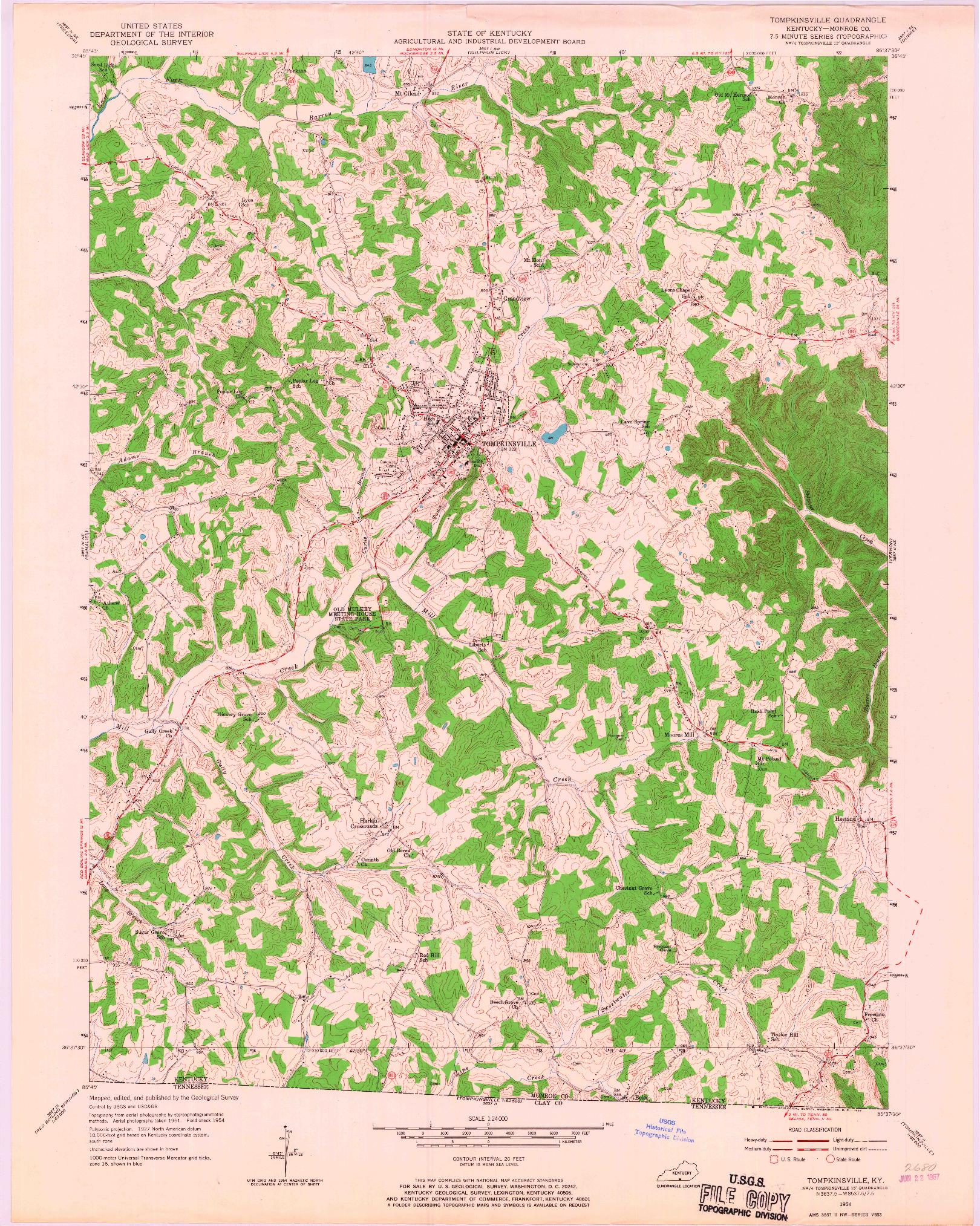 USGS 1:24000-SCALE QUADRANGLE FOR TOMPKINSVILLE, KY 1954