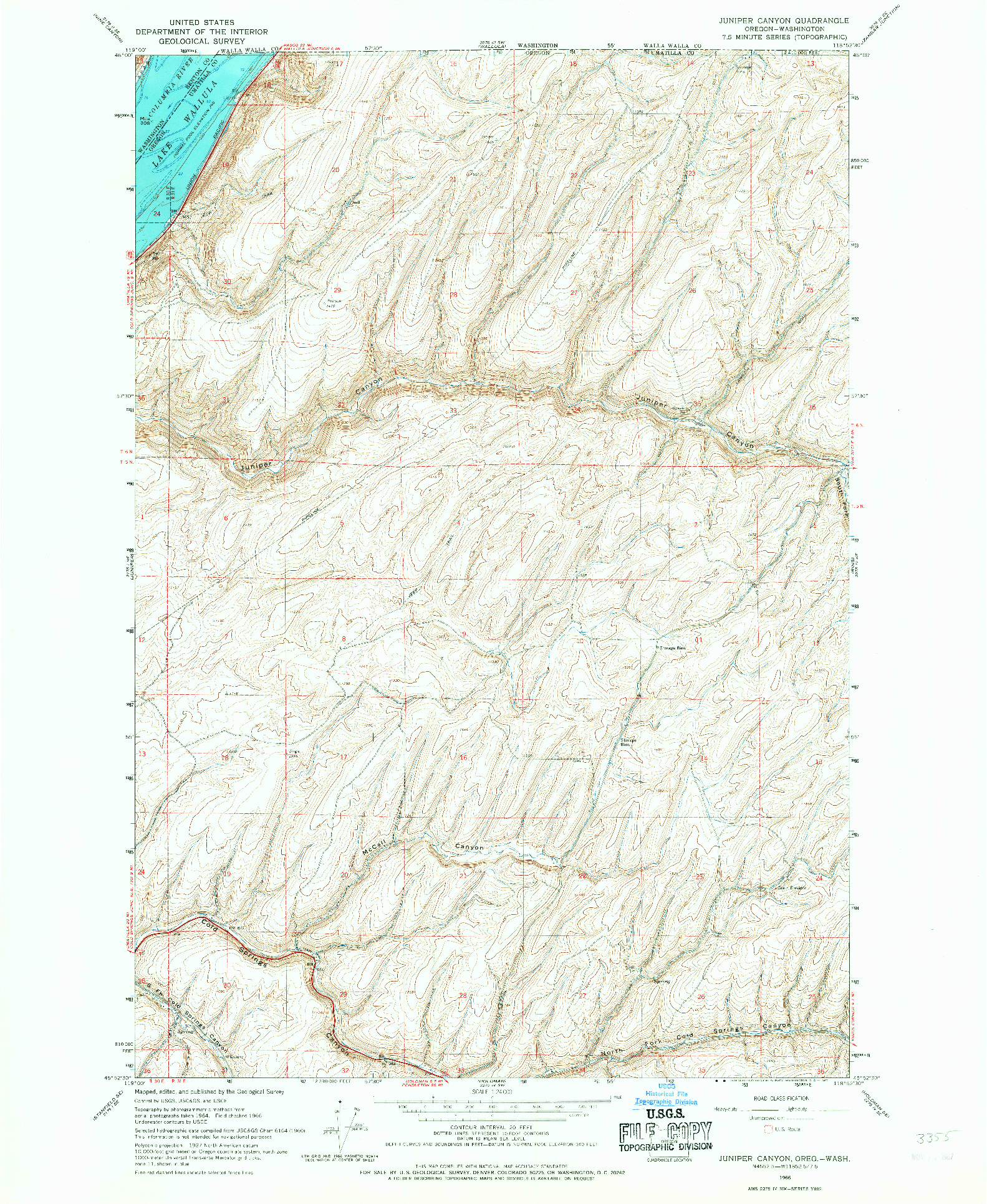 USGS 1:24000-SCALE QUADRANGLE FOR JUNIPER CANYON, OR 1966