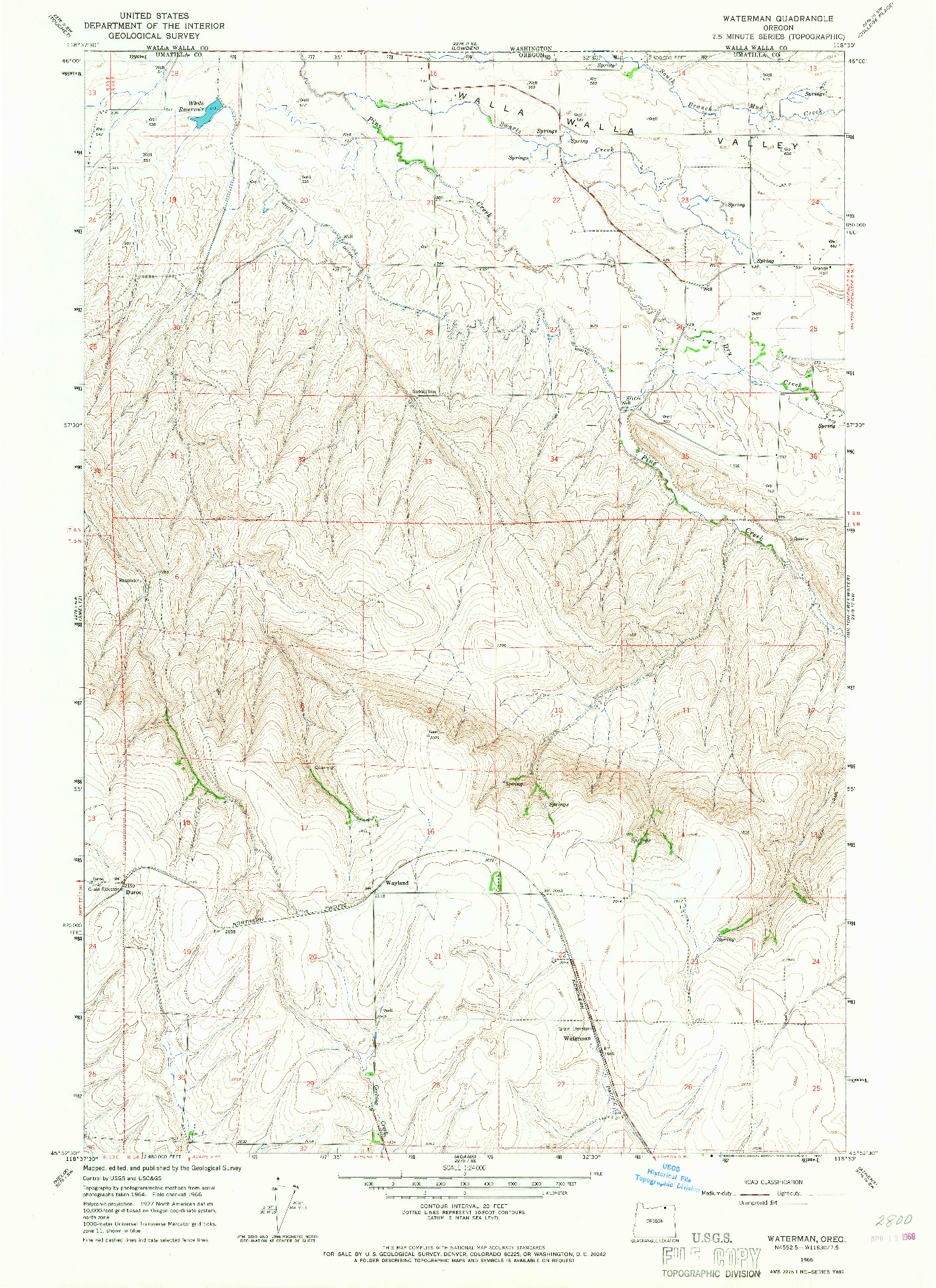 USGS 1:24000-SCALE QUADRANGLE FOR WATERMAN, OR 1966