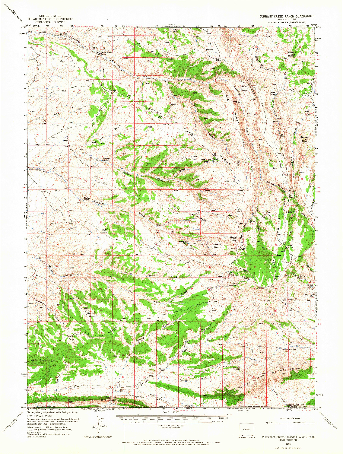 USGS 1:62500-SCALE QUADRANGLE FOR CURRANT CREEK RANCH, WY 1966