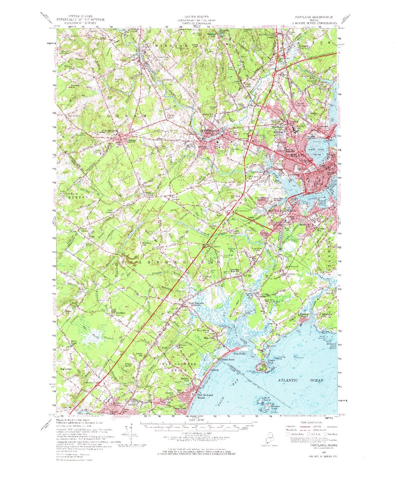 USGS 1:62500-SCALE QUADRANGLE FOR PORTLAND, ME 1957