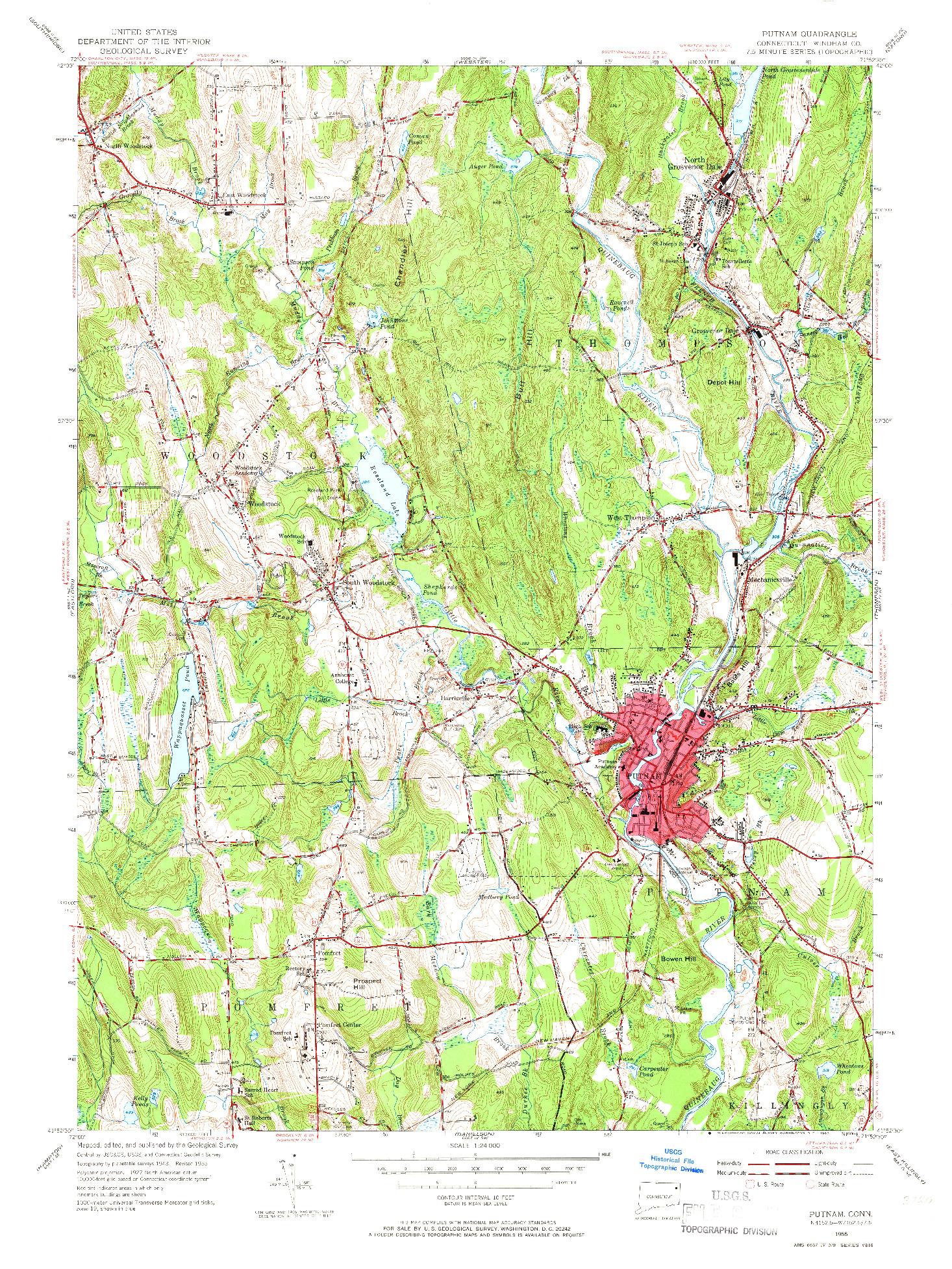 USGS 1:24000-SCALE QUADRANGLE FOR PUTNAM, CT 1955