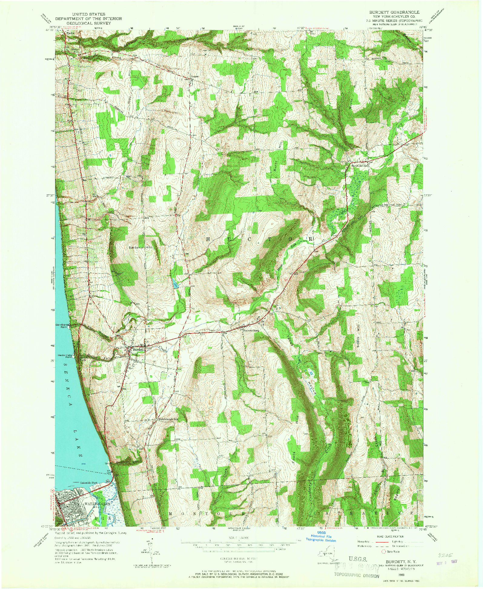 USGS 1:24000-SCALE QUADRANGLE FOR BURDETT, NY 1950