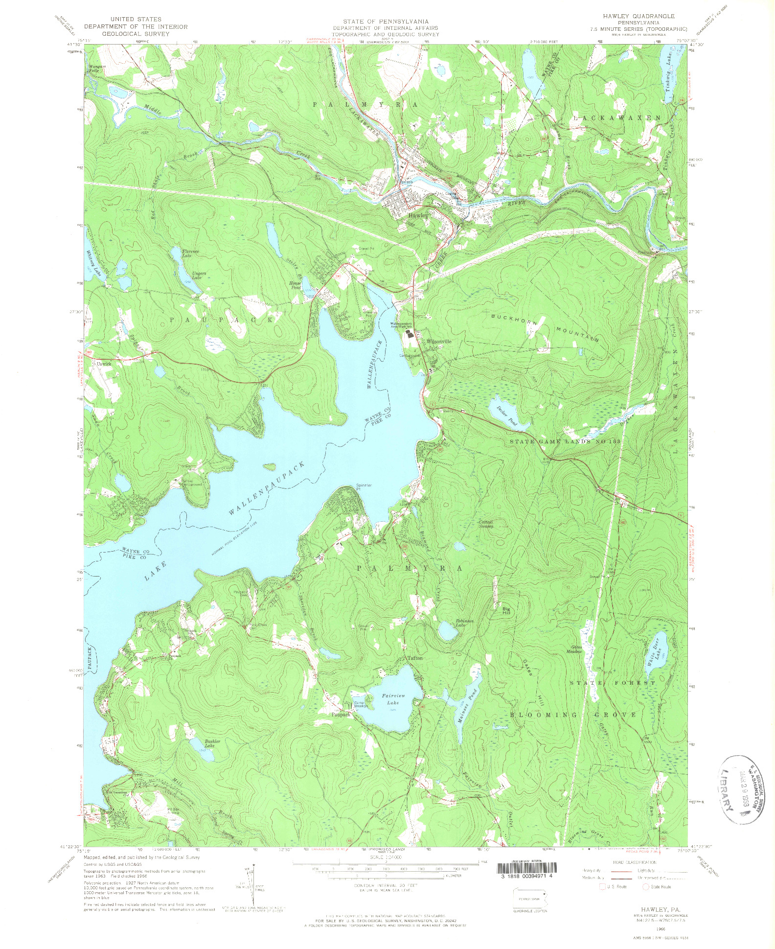 USGS 1:24000-SCALE QUADRANGLE FOR HAWLEY, PA 1966